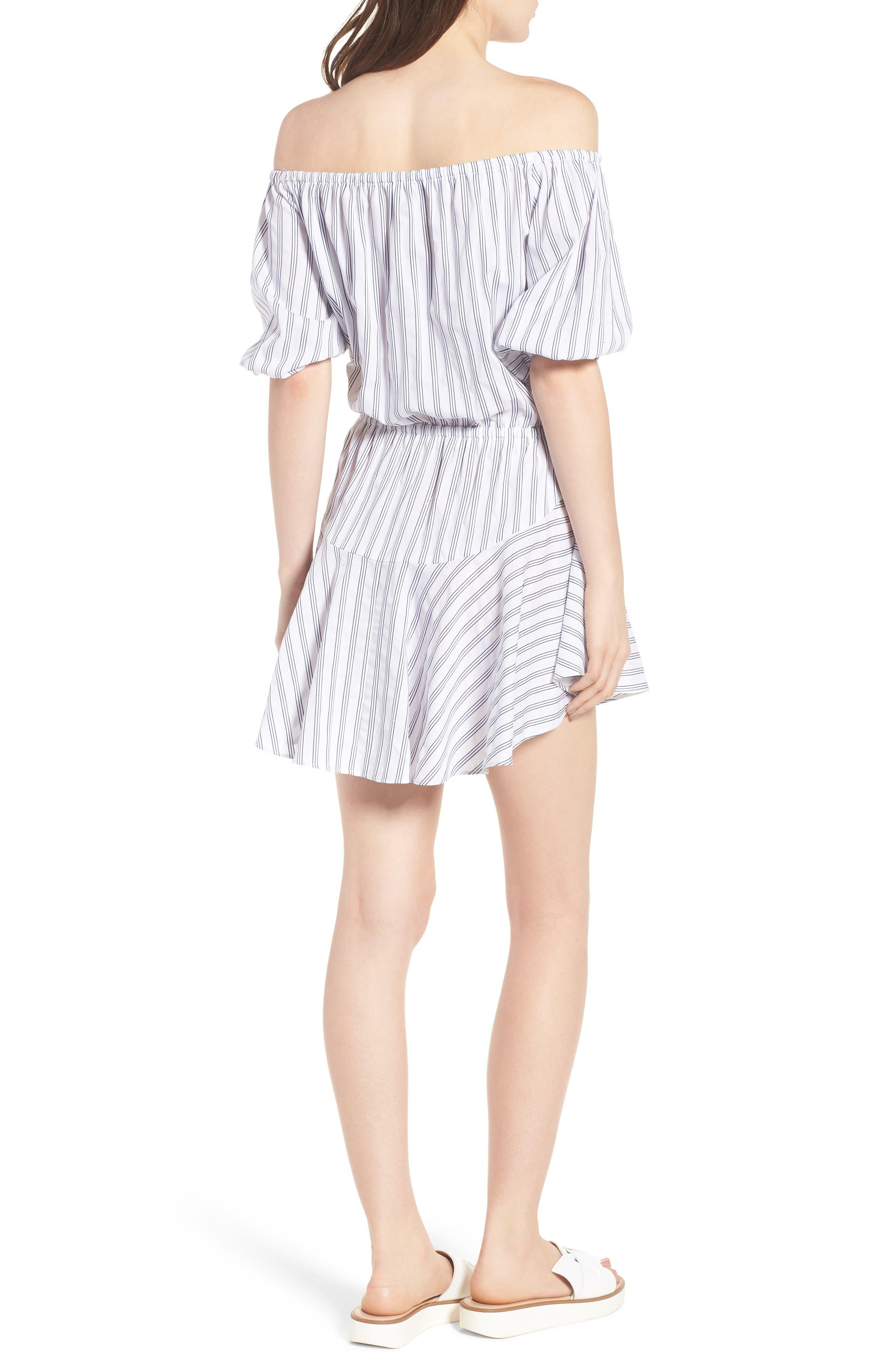 Barbados Stripe Off the Shoulder Dress,                             Alternate thumbnail 2, color,                             Blue