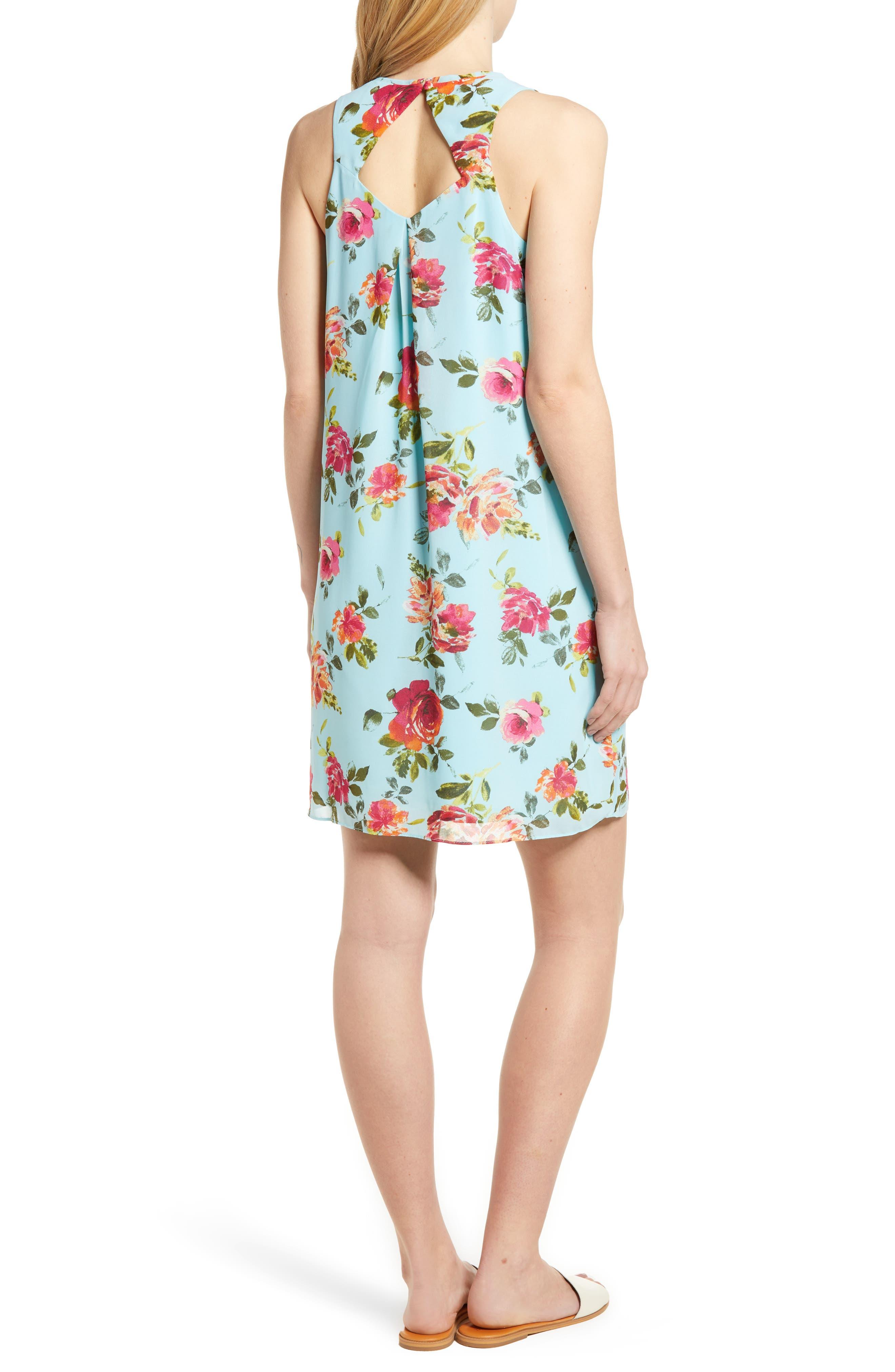 Sela Shift Floral Dress,                             Alternate thumbnail 2, color,                             Sky Blue