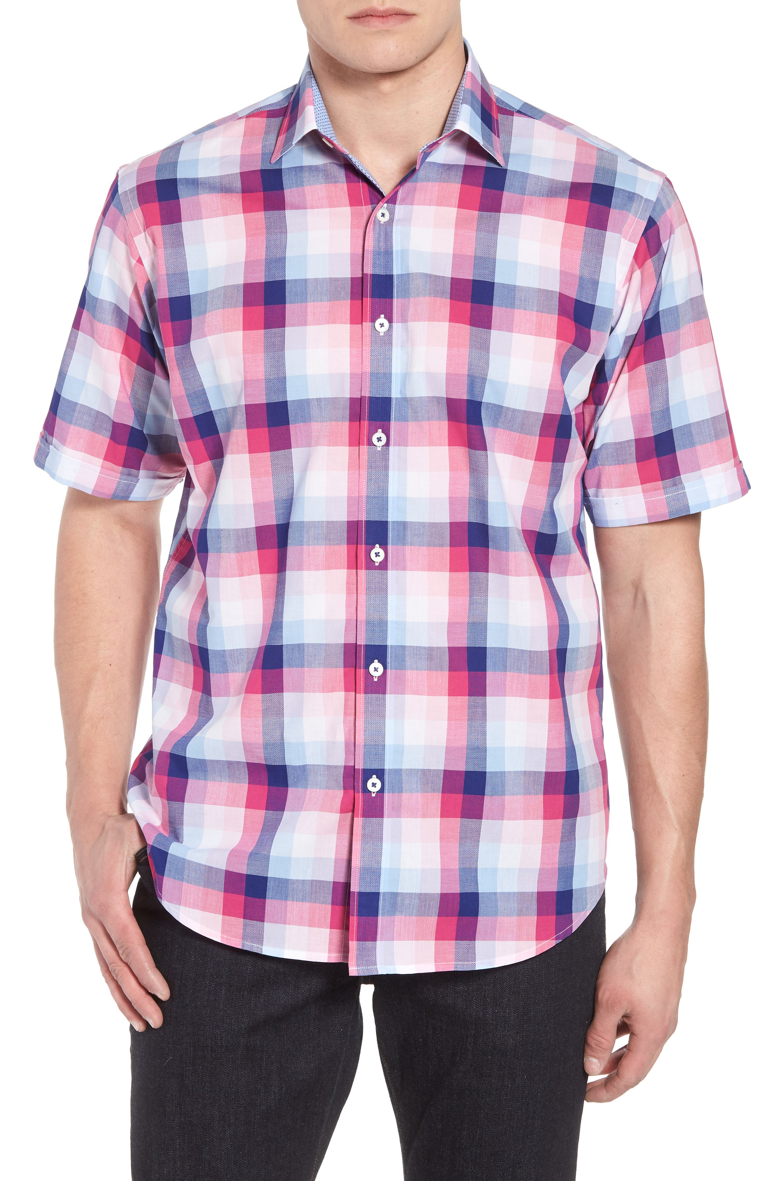 Classic Fit Check Sport Shirt,                         Main,                         color, Gum Drop