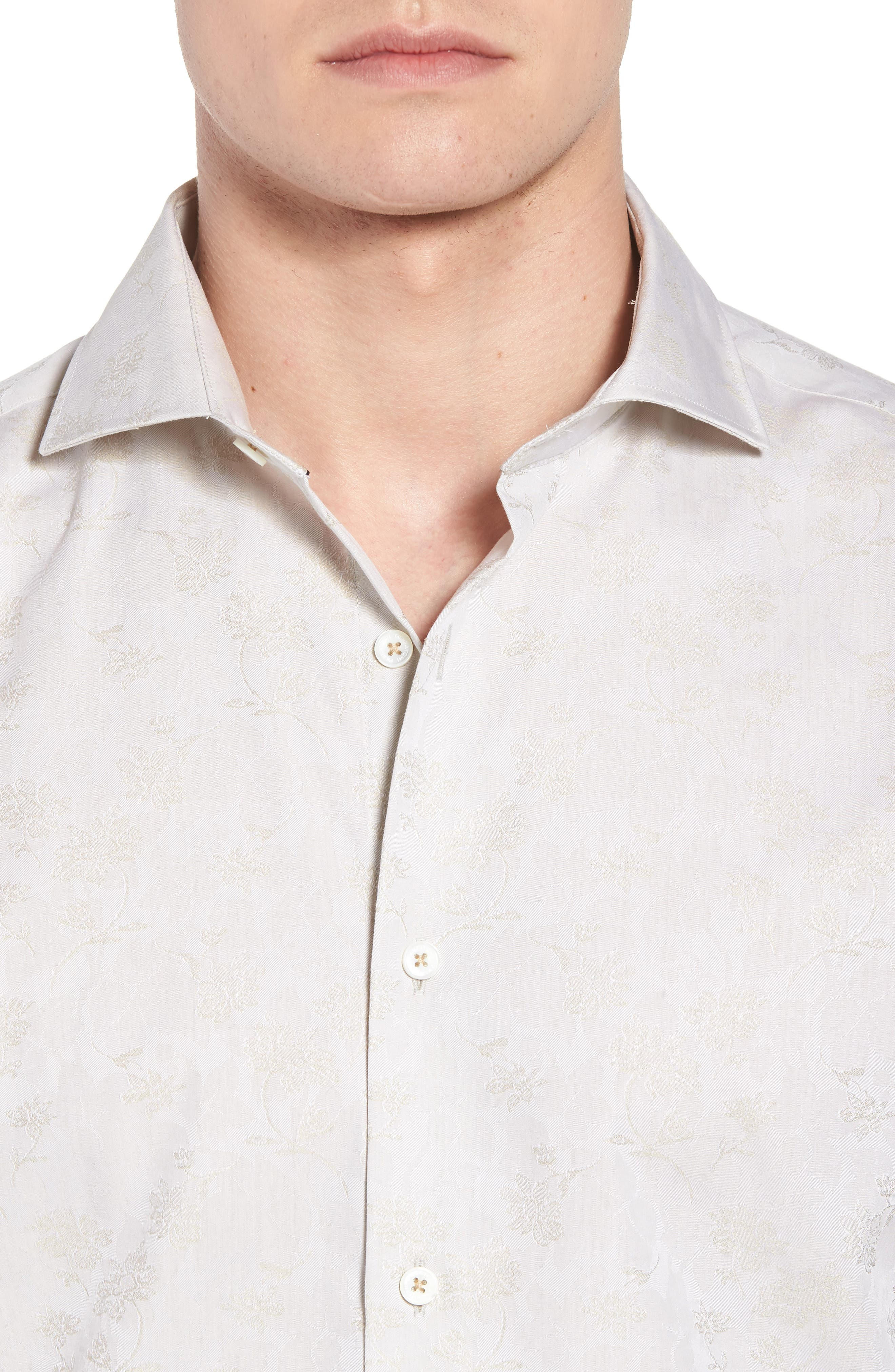 Classic Fit Woven Sport Shirt,                             Alternate thumbnail 4, color,                             Sand