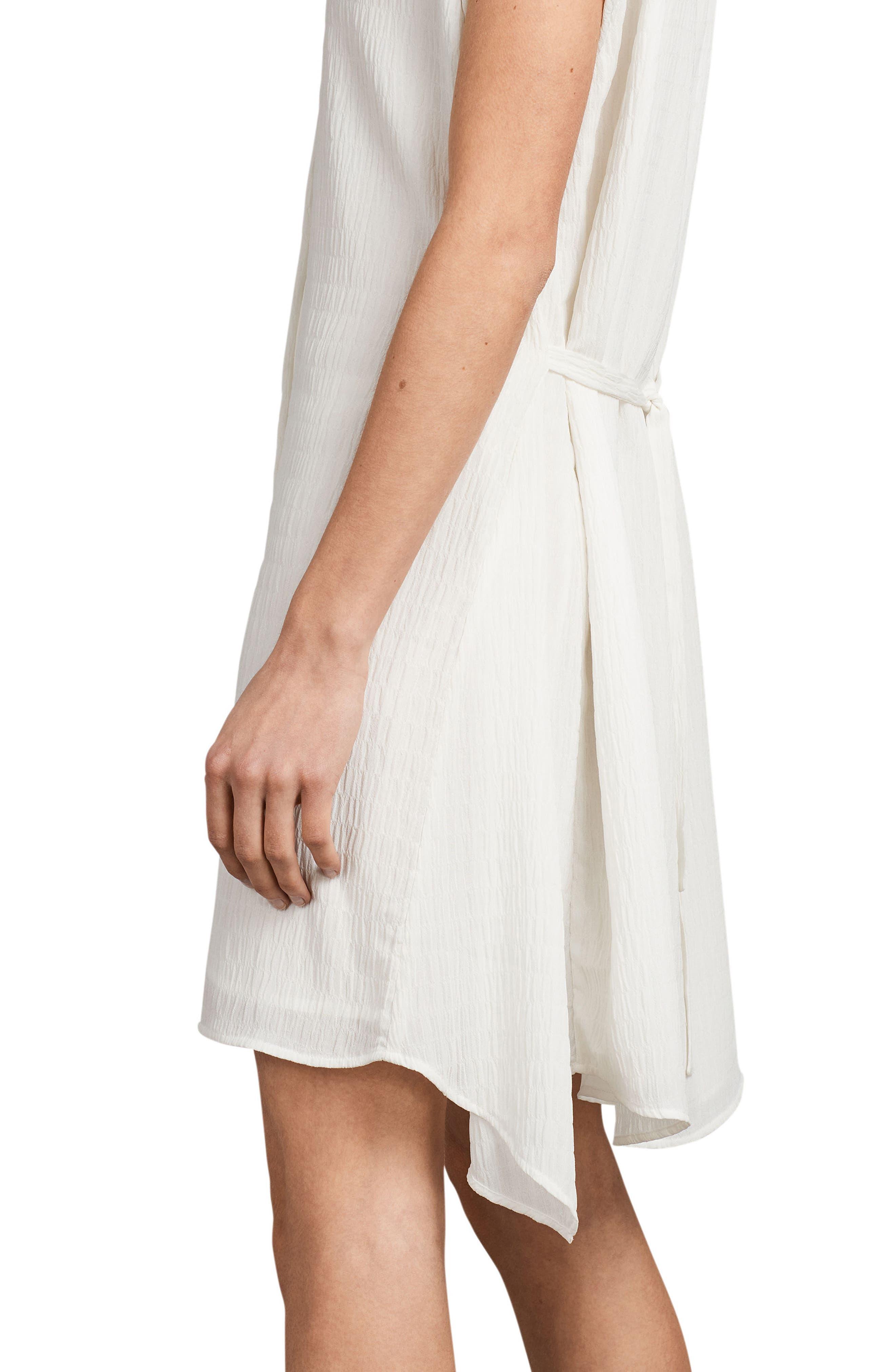 Meda Textured Shirtdress,                             Alternate thumbnail 3, color,                             Chalk White