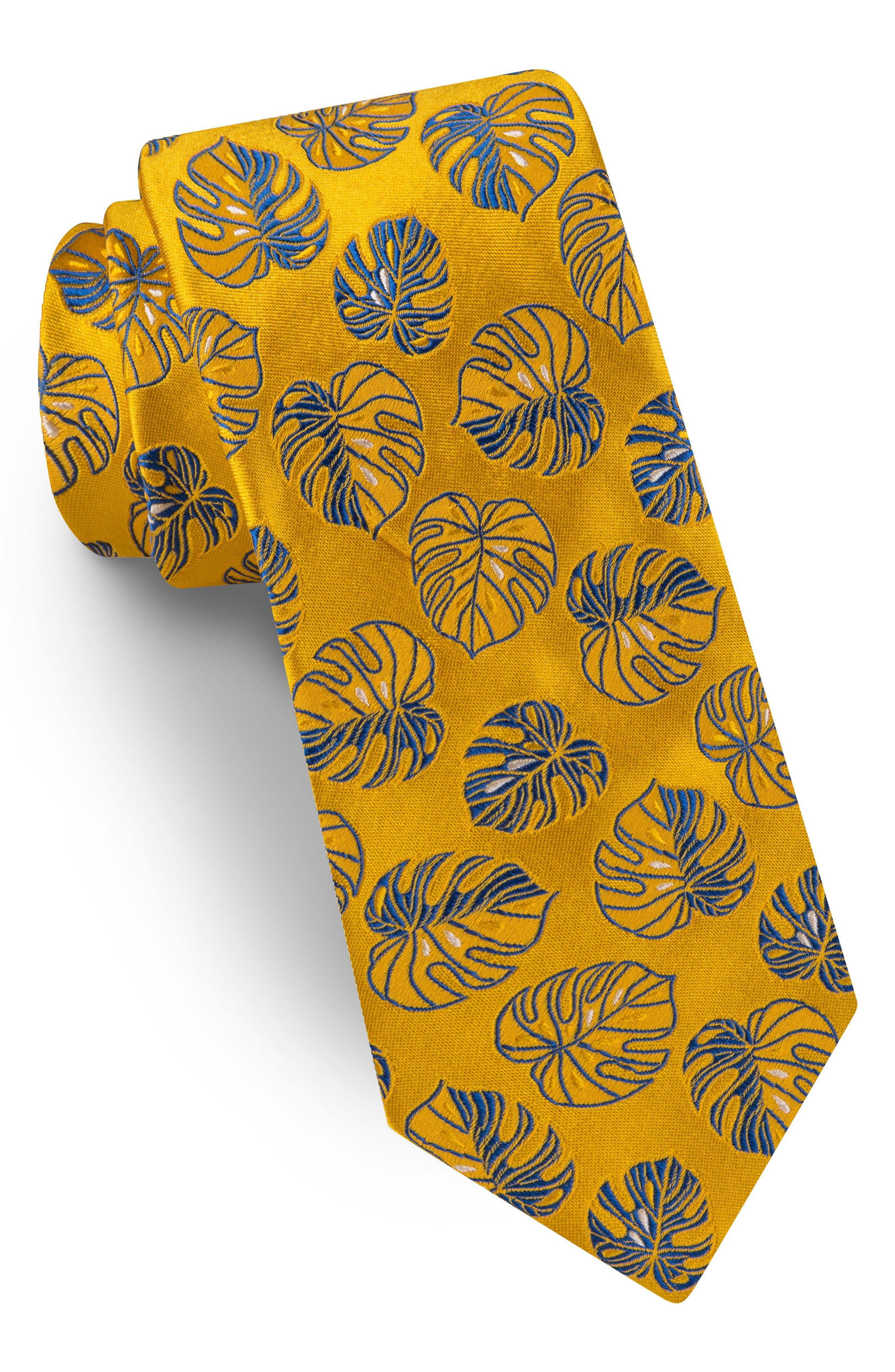 Banana Leaf Silk Tie,                             Main thumbnail 1, color,                             Yellow