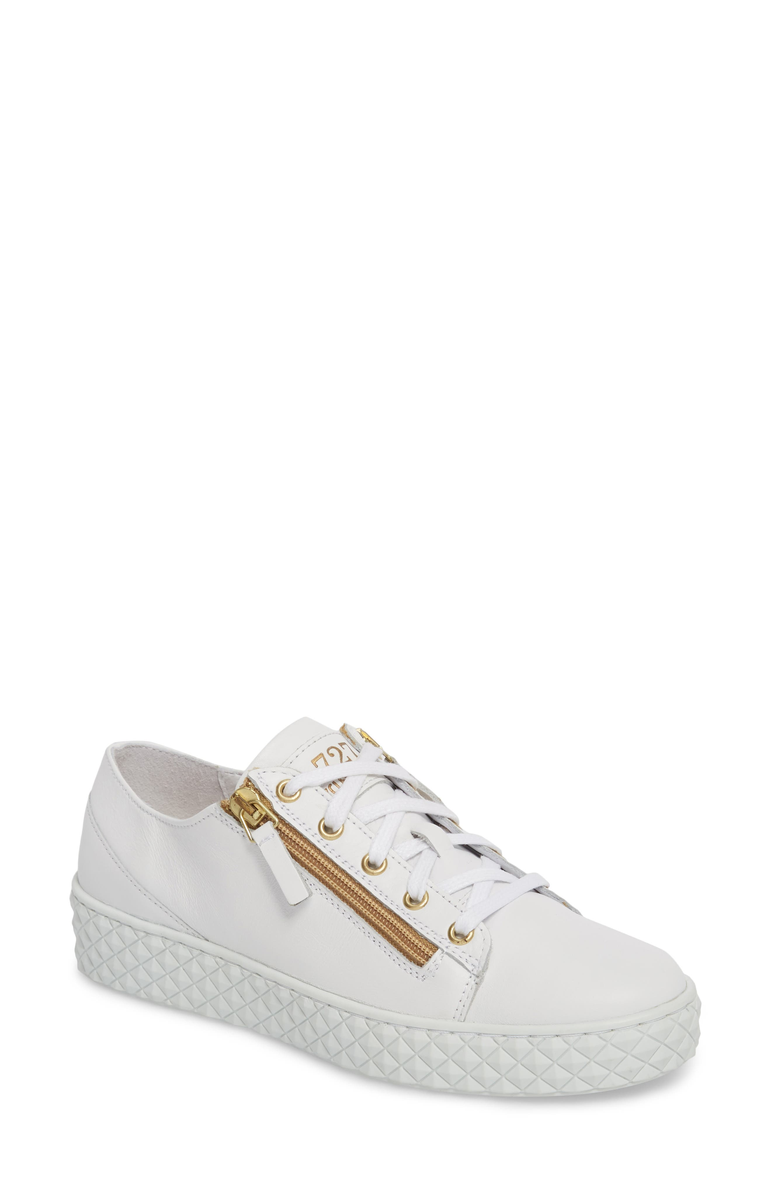 Mira Side Zip Low Top Sneaker,                         Main,                         color, Optic White/ Gold Leather
