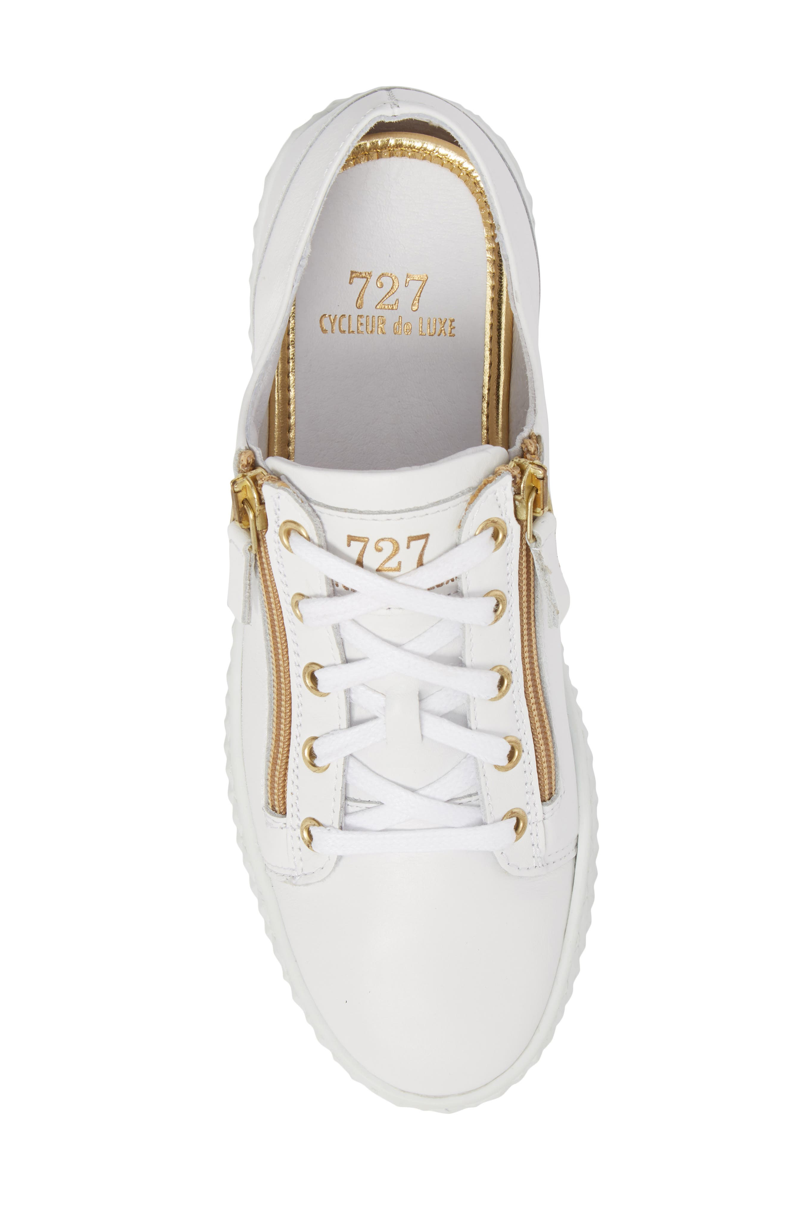 Mira Side Zip Low Top Sneaker,                             Alternate thumbnail 5, color,                             Optic White/ Gold Leather
