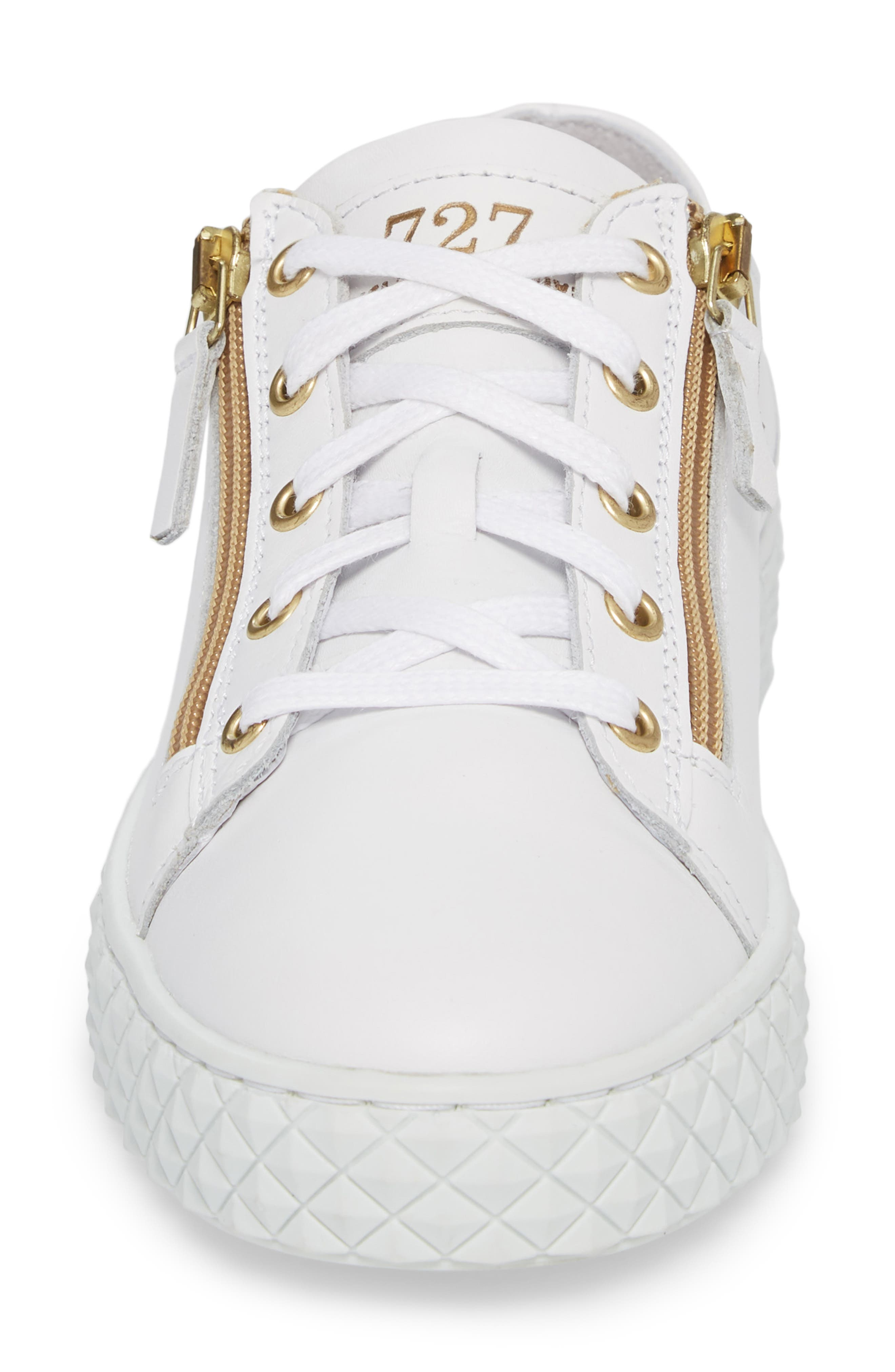 Mira Side Zip Low Top Sneaker,                             Alternate thumbnail 4, color,                             Optic White/ Gold Leather