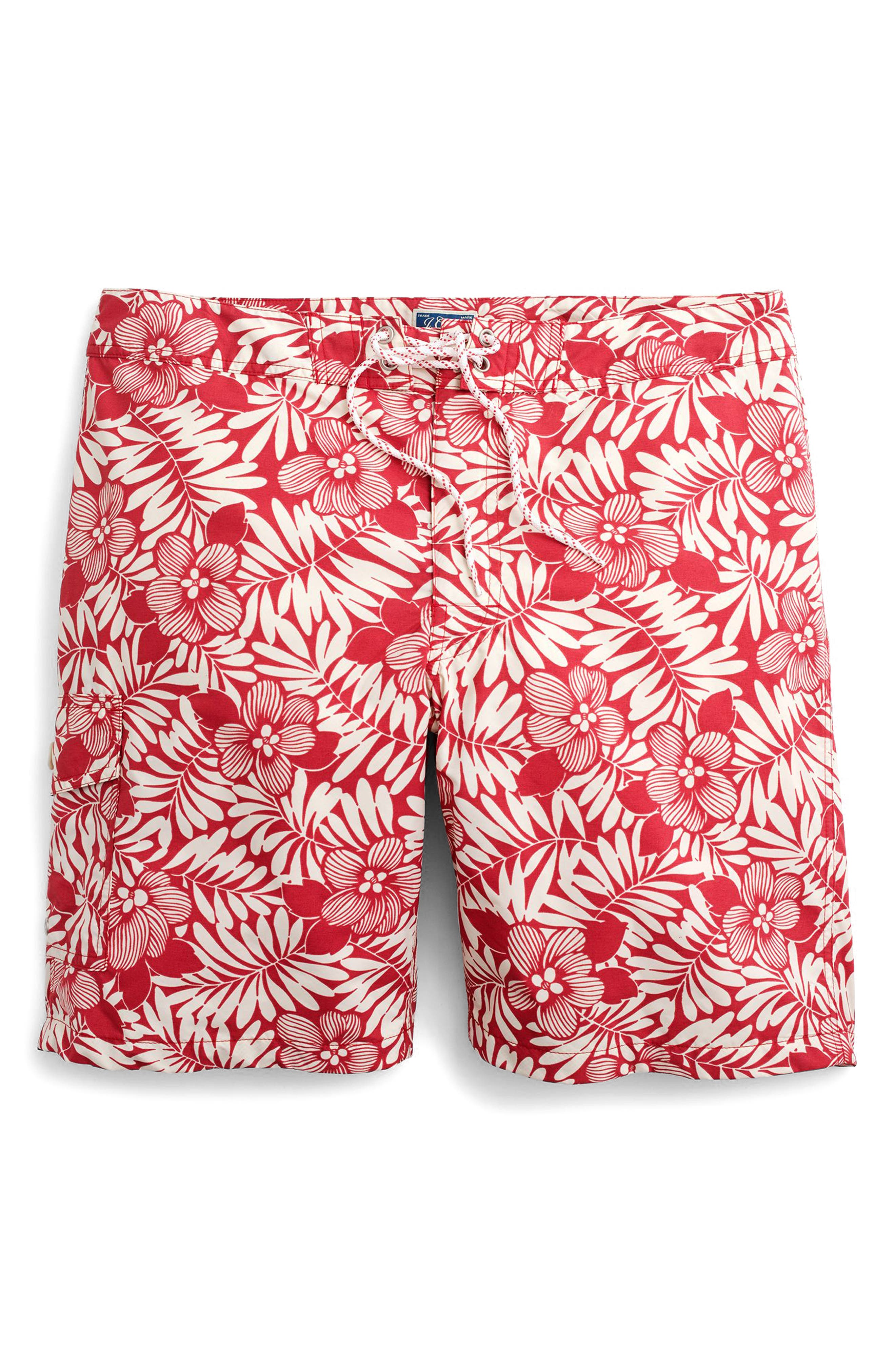 Fern Print Board Shorts,                             Alternate thumbnail 3, color,                             Red Ivory