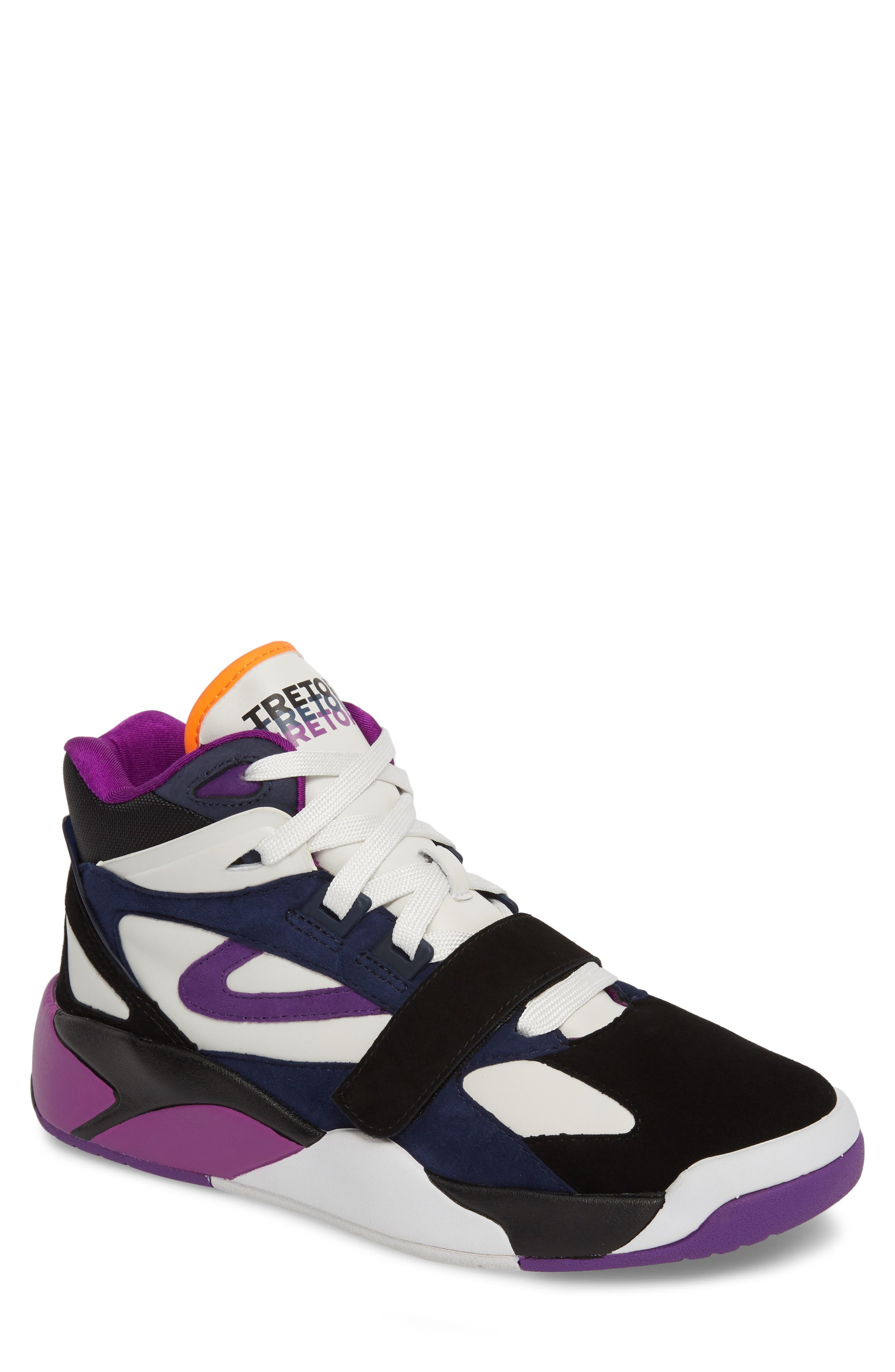 Andre 3000 Bostad 2 High Top Sneaker,                             Main thumbnail 1, color,                             Black/ White/ Purple