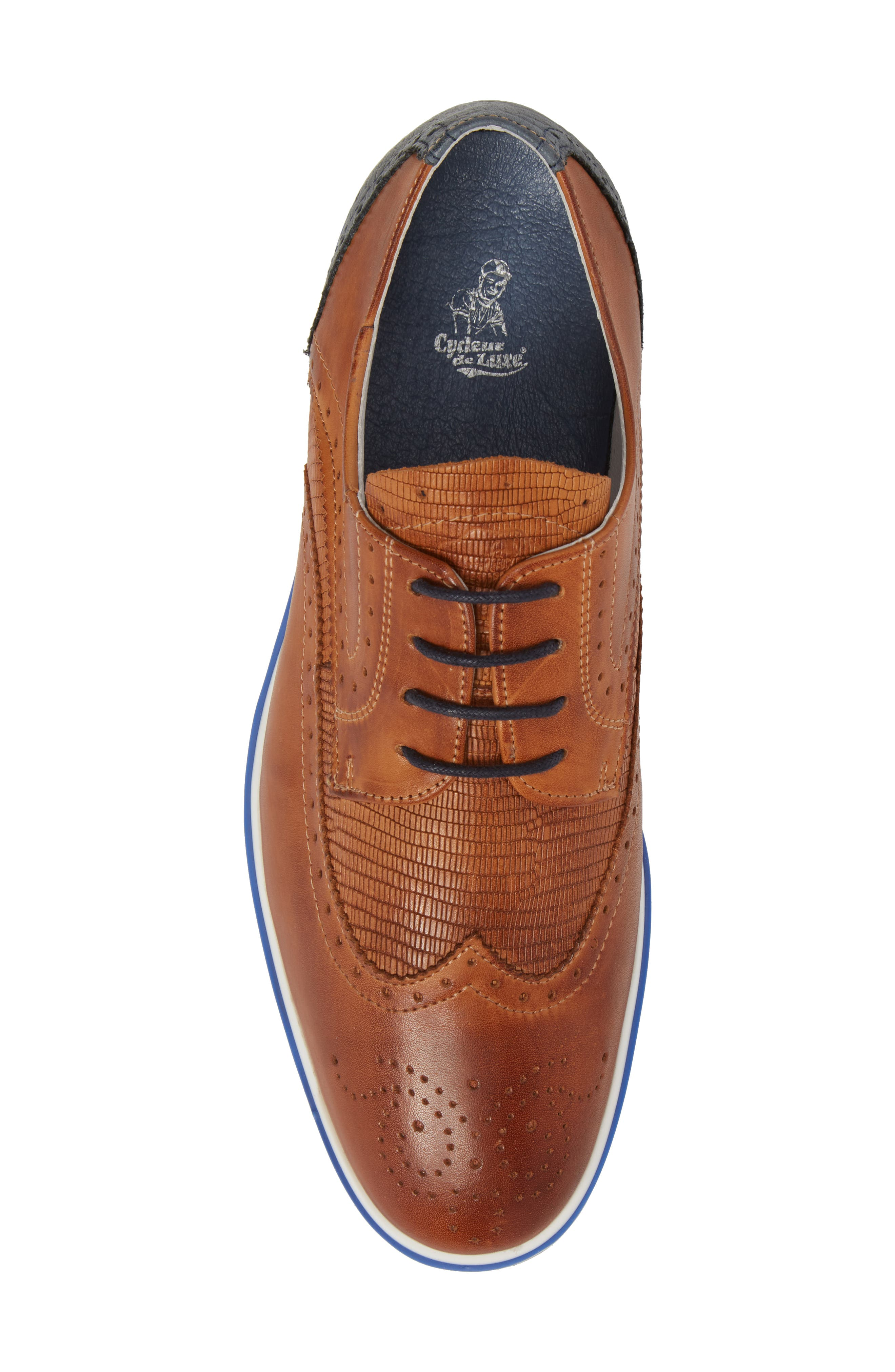 Pulsano Textured Wingtip,                             Alternate thumbnail 5, color,                             Cognac/ Denim Leather