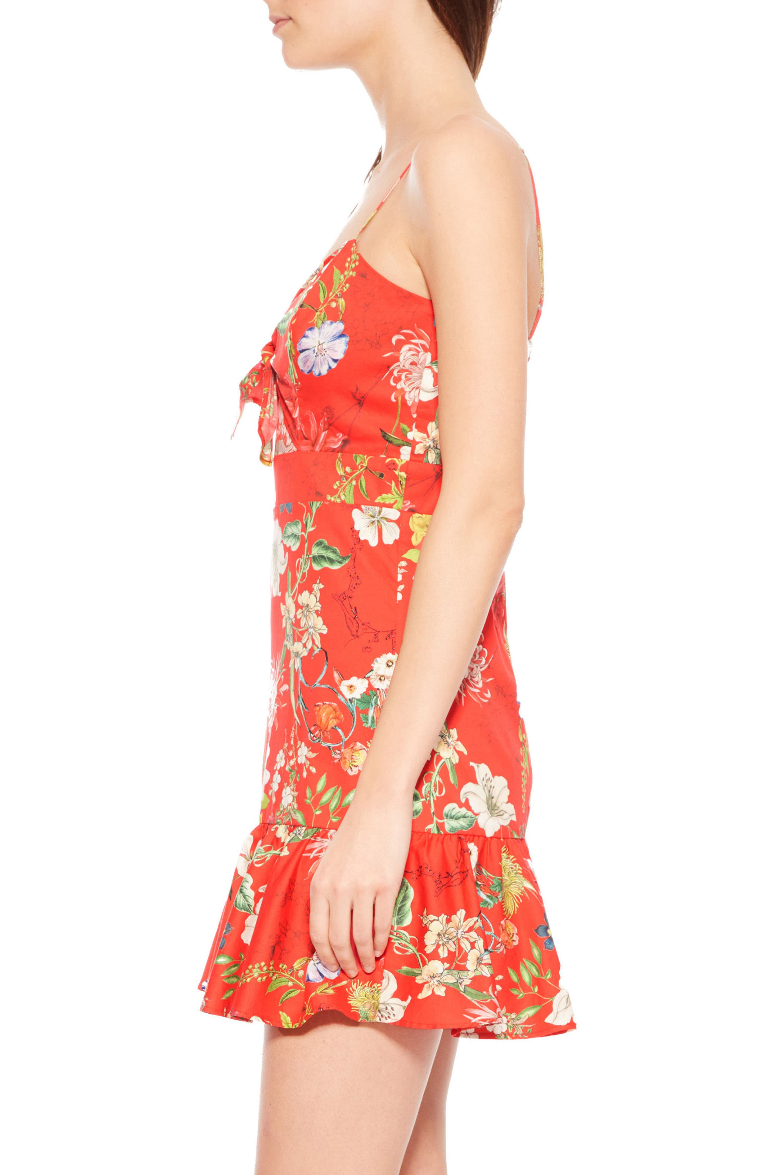 Dany Floral Dress,                             Alternate thumbnail 3, color,                             Red Sangria