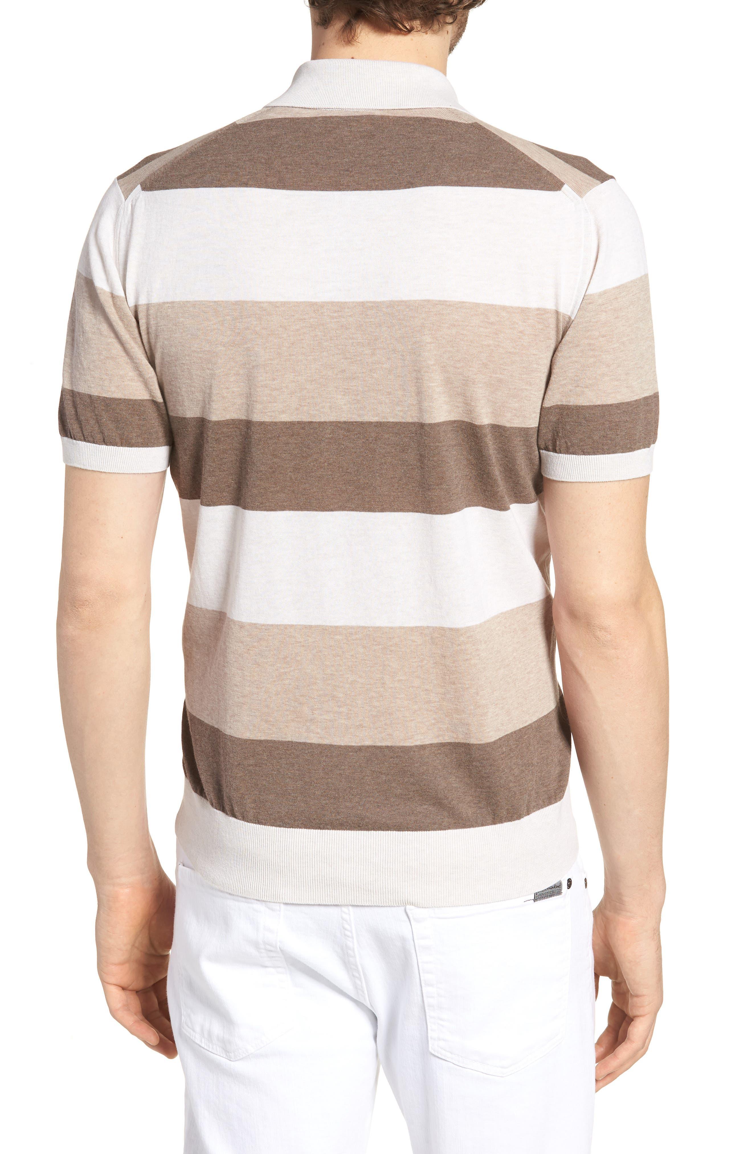Stripe Polo Shirt,                             Alternate thumbnail 2, color,                             Brown