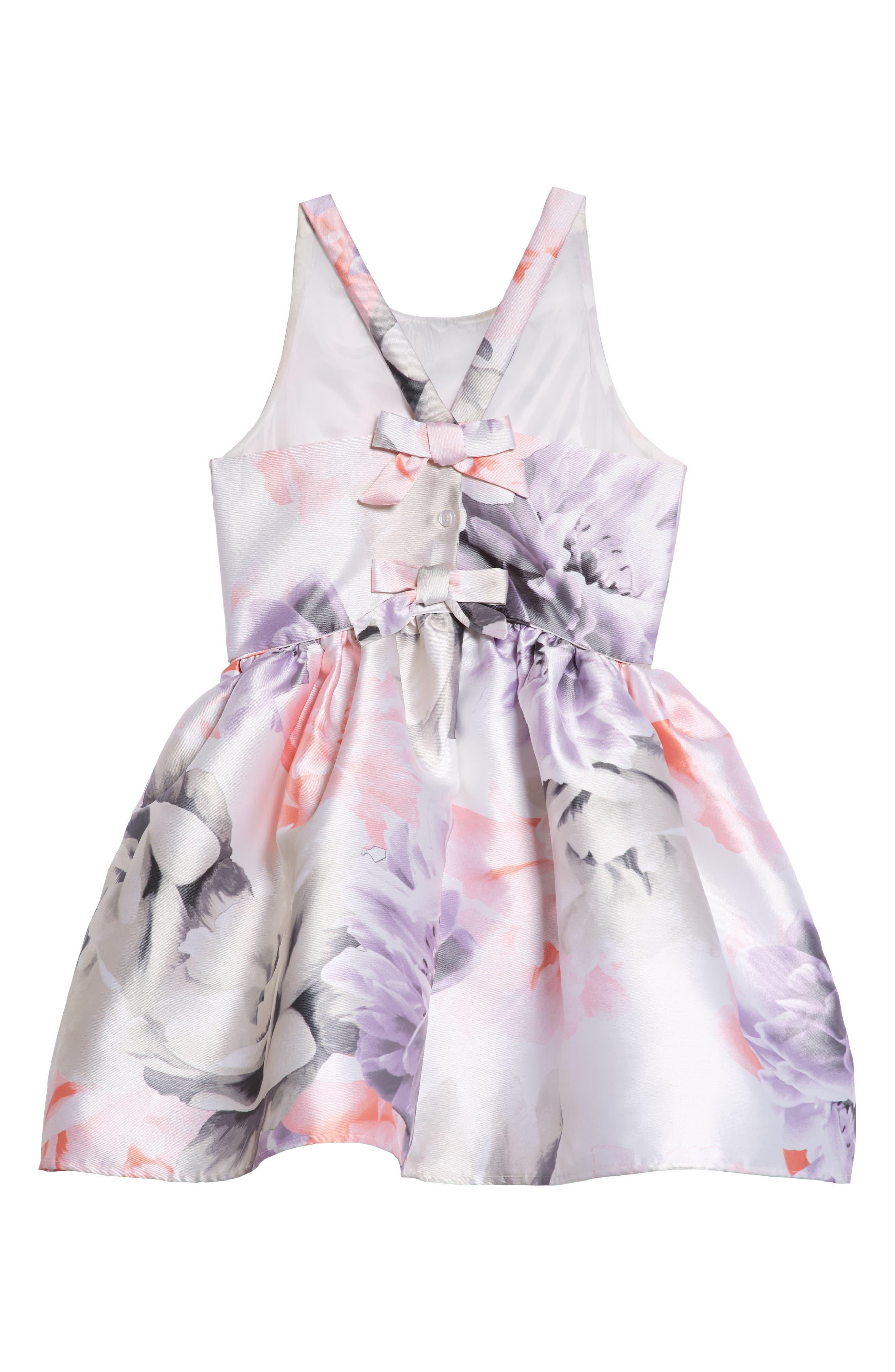 Floral Print Party Dress,                             Alternate thumbnail 3, color,                             Ivory