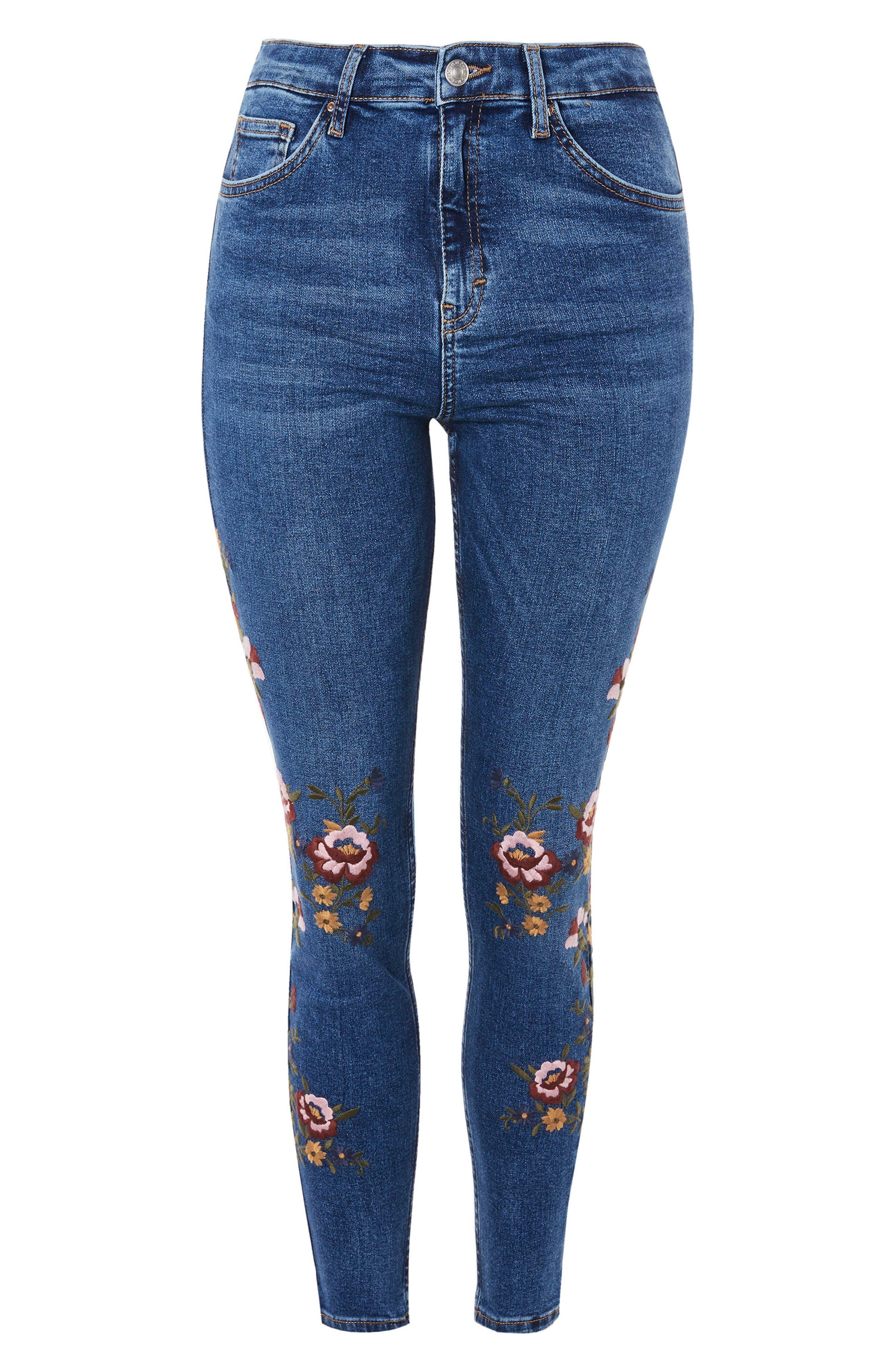 Jamie Ditsy Floral Jeans,                             Alternate thumbnail 4, color,                             Mid Denim Multi