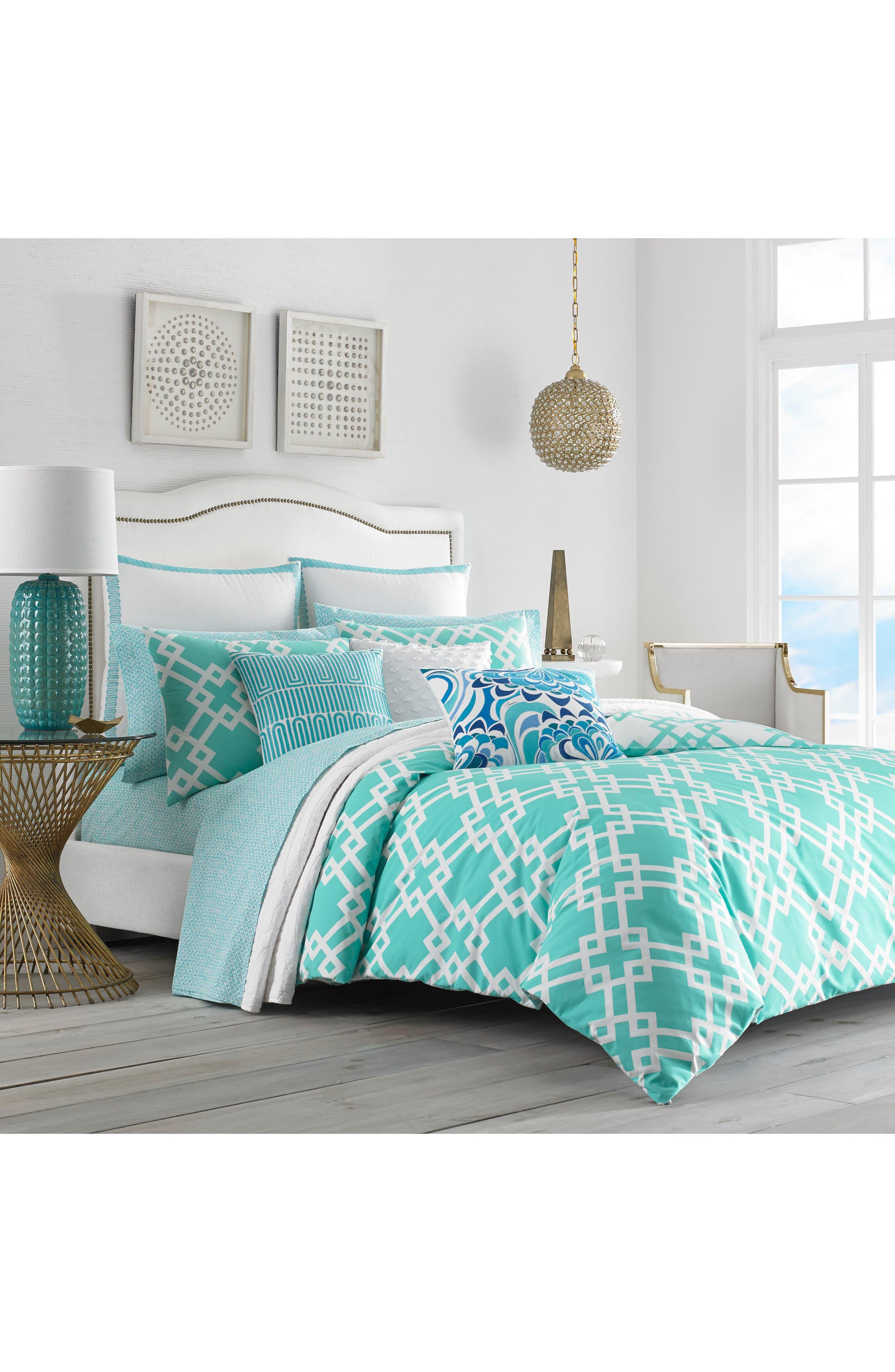 Avalon Comforter & Sham Set,                             Main thumbnail 1, color,                             Turquoise