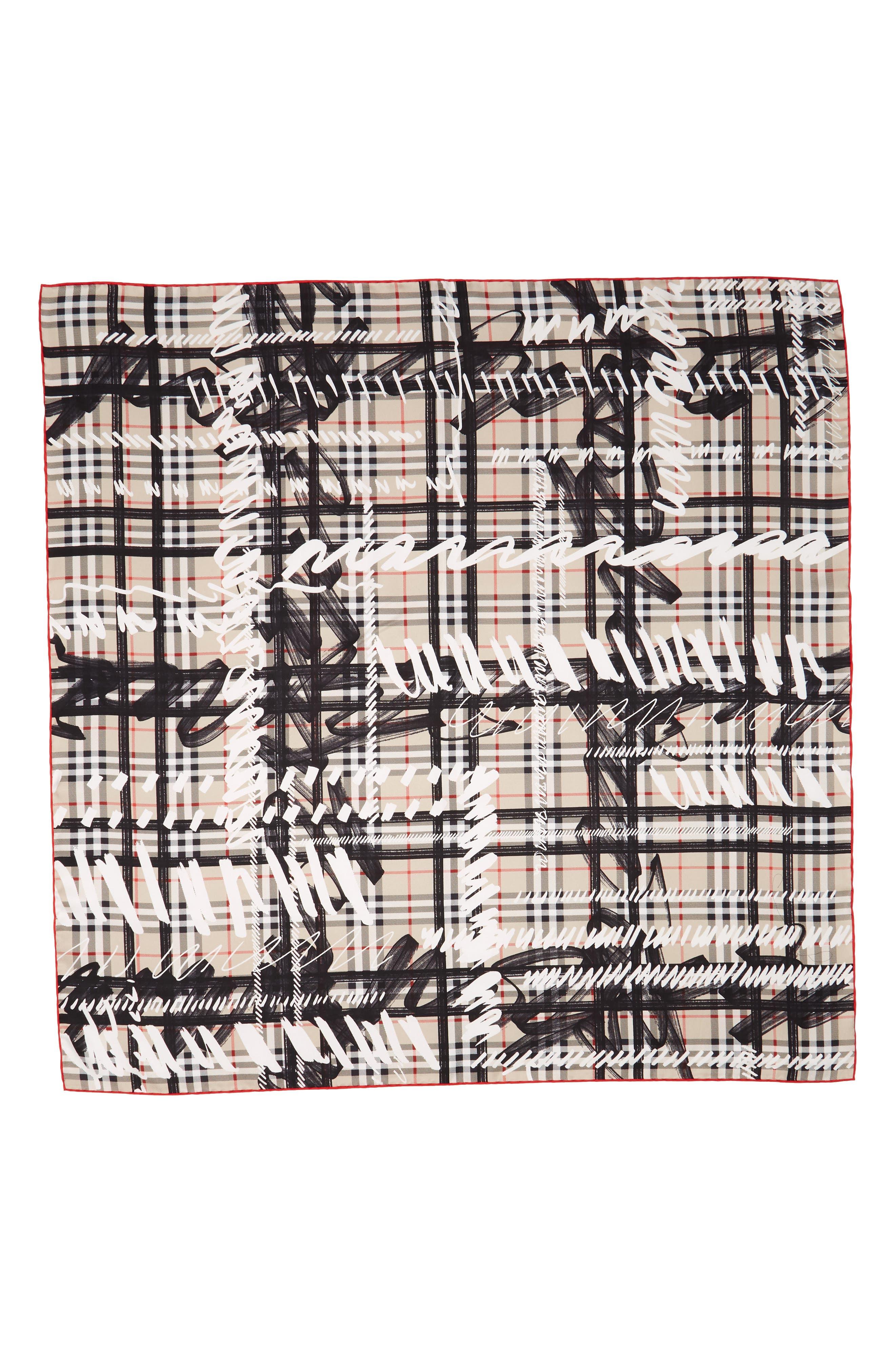 Scribble Vintage Check Silk Square Scarf,                             Alternate thumbnail 3, color,                             Stone