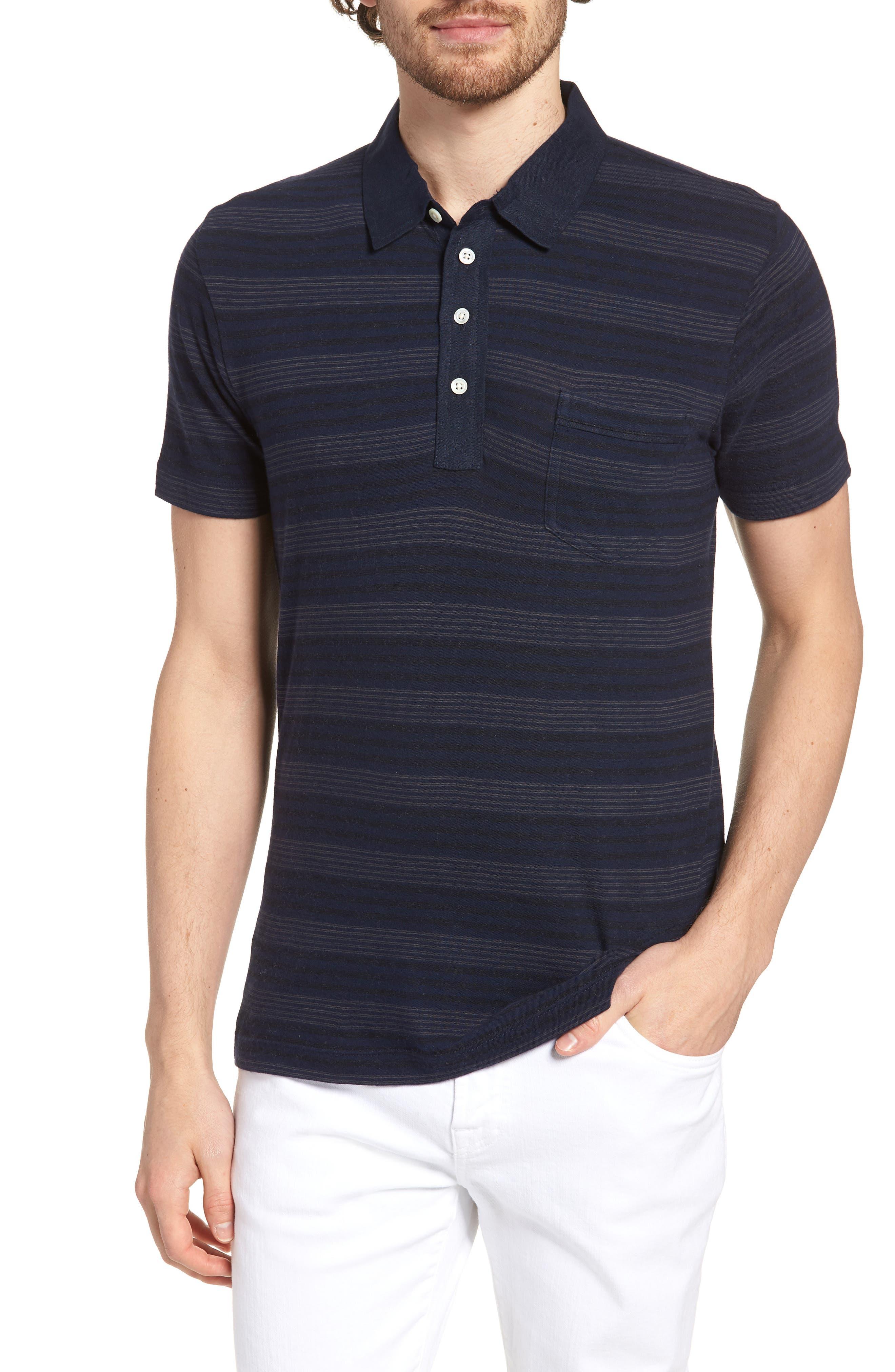 Stripe Cotton & Cashmere Polo Shirt,                         Main,                         color, Navy