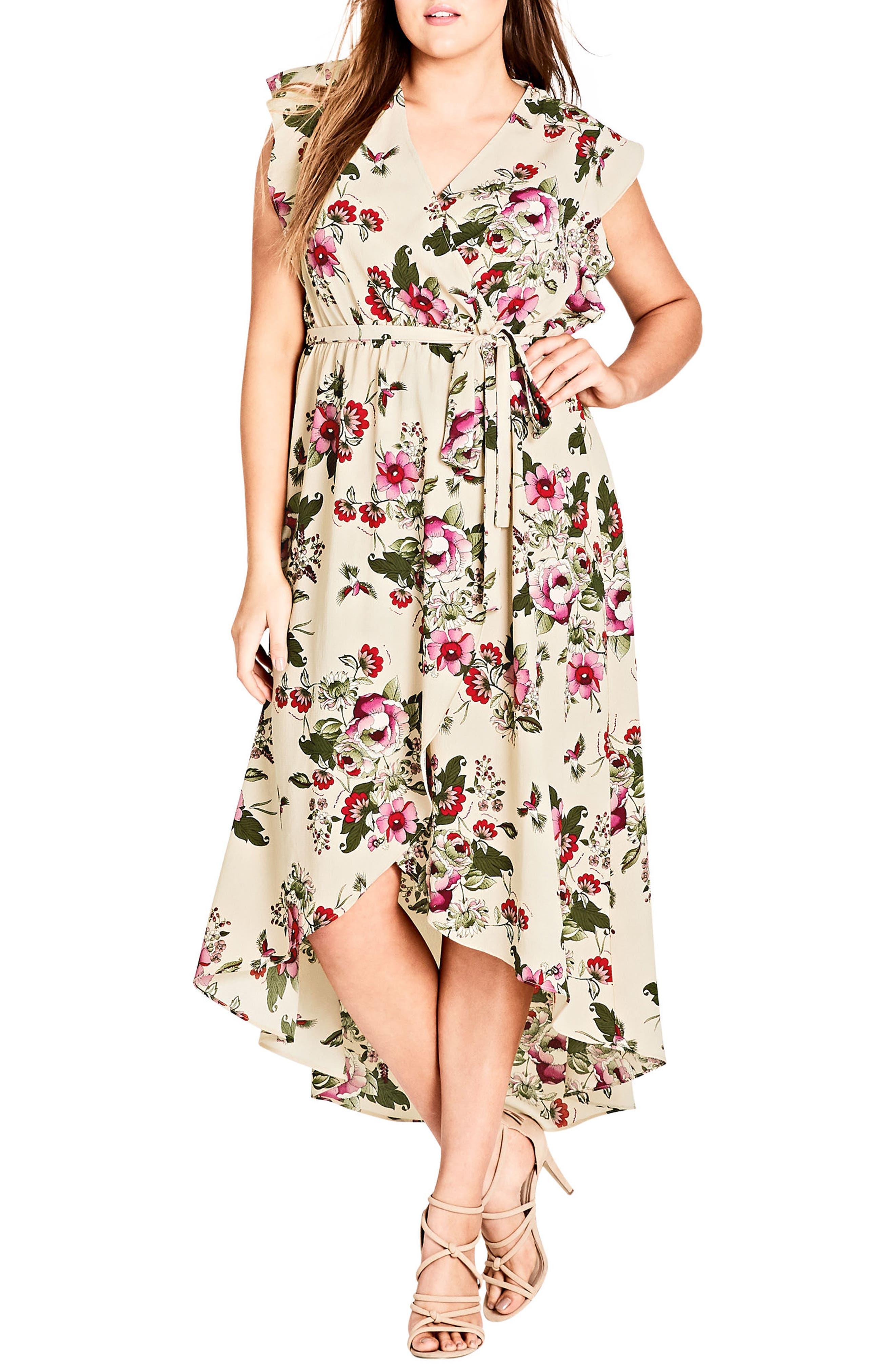 Main Image - City Chic Lolita Floral High/Low Maxi Dress (Plus Size)