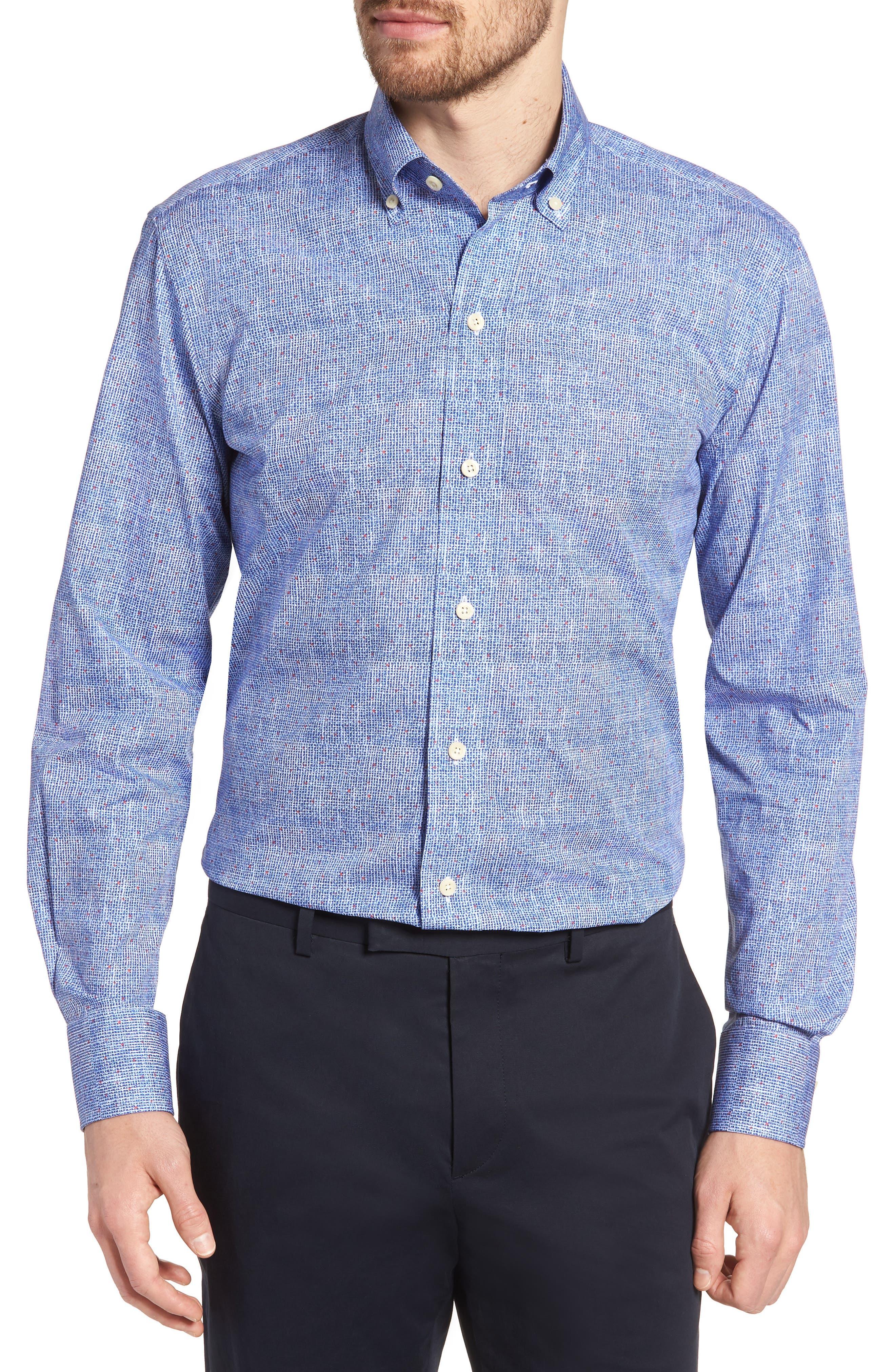 Normand Slim Fit Check Dress Shirt,                             Main thumbnail 1, color,                             Blue