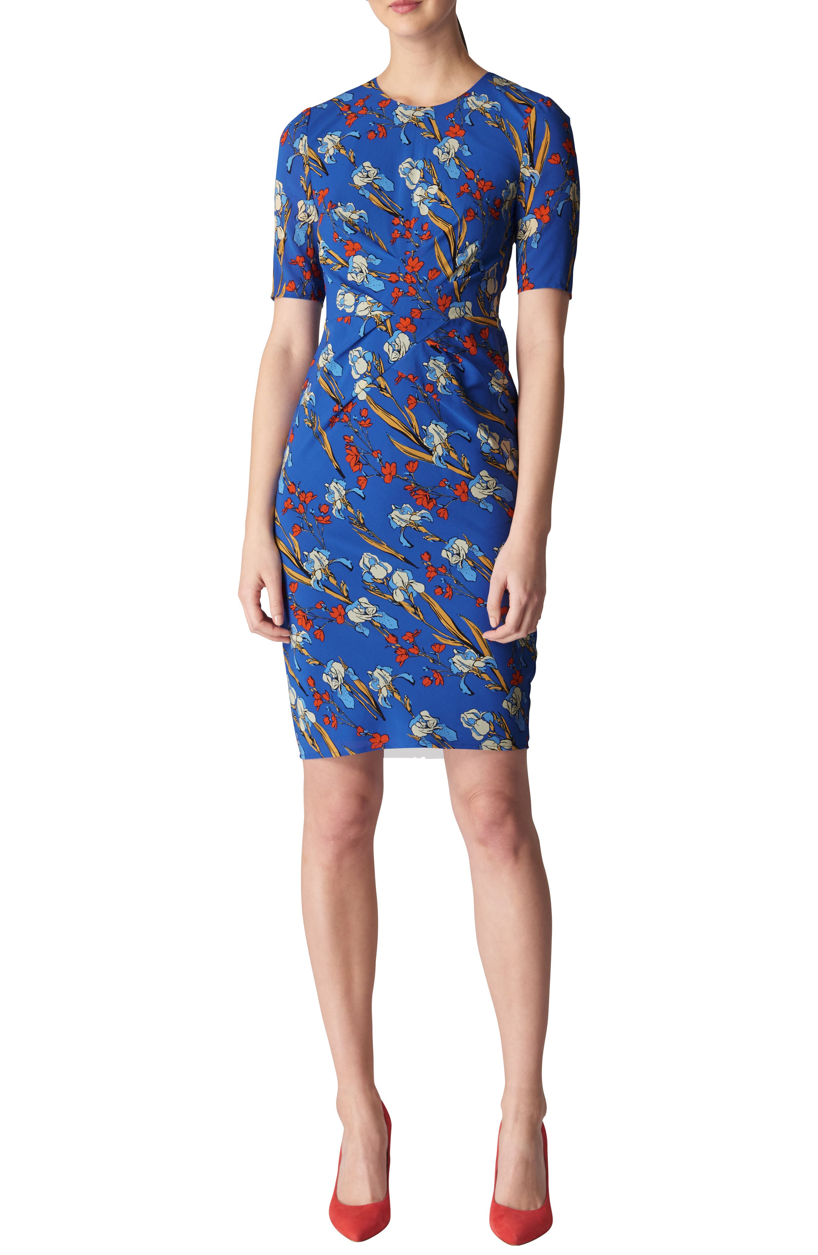 Phoebe Iris Print Stretch Silk Body-Con Dress,                             Main thumbnail 1, color,                             Multicolor