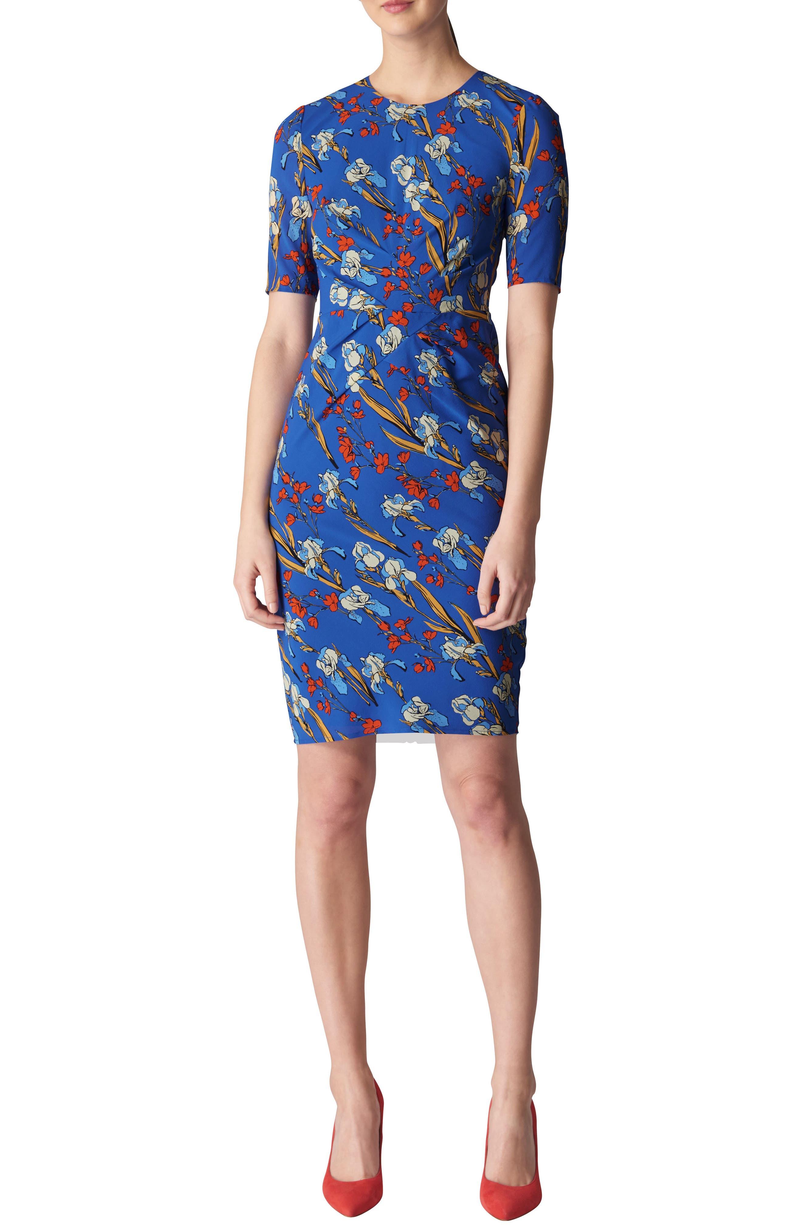 Whistles Phoebe Iris Print Stretch Silk Body-Con Dress