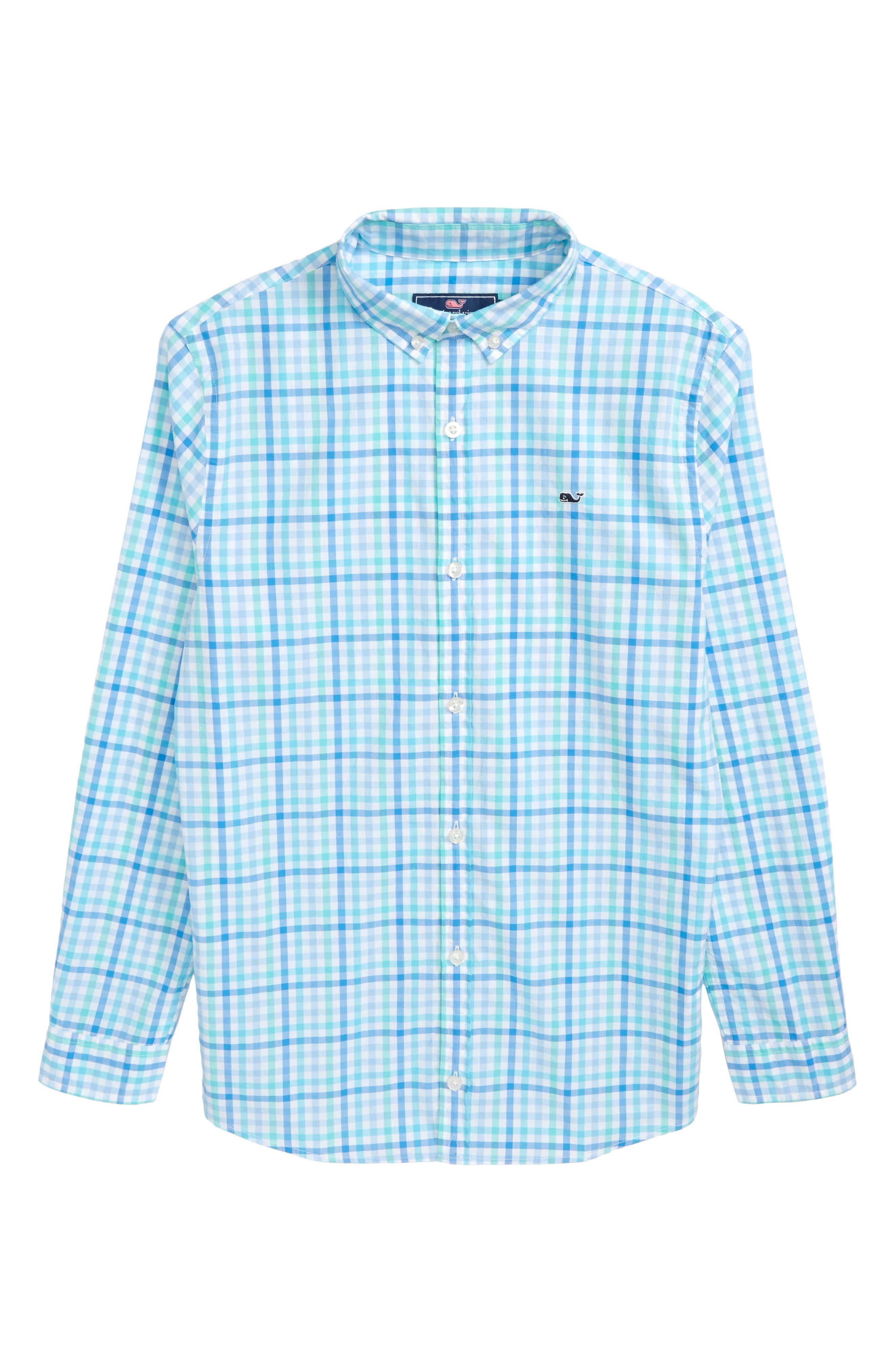 Guana Cay Gingham Check Woven Shirt,                         Main,                         color, Capri Blue