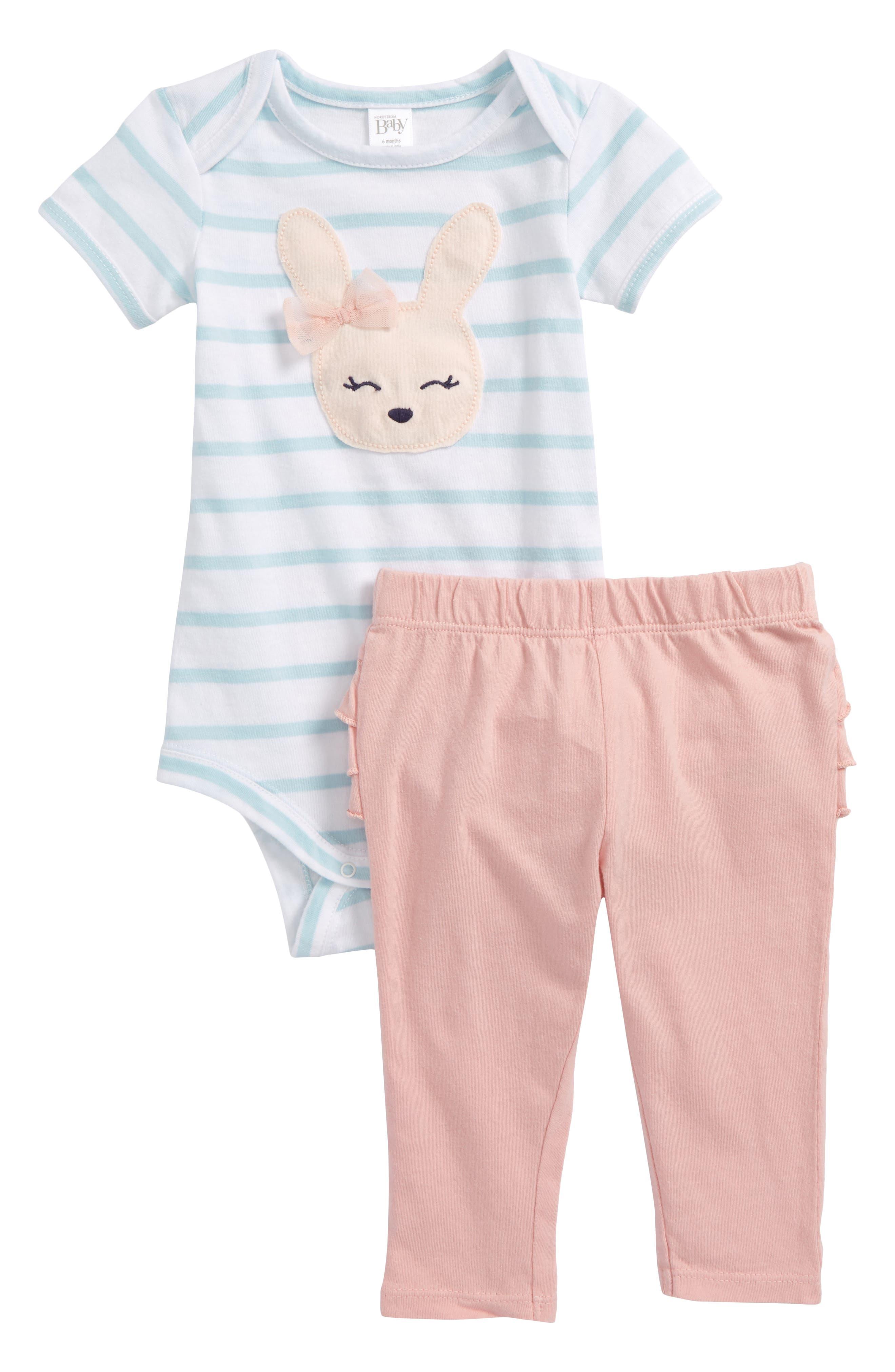 Stripe Bodysuit & Ruffle Leggings Set,                             Main thumbnail 1, color,                             White- Pink Bunny