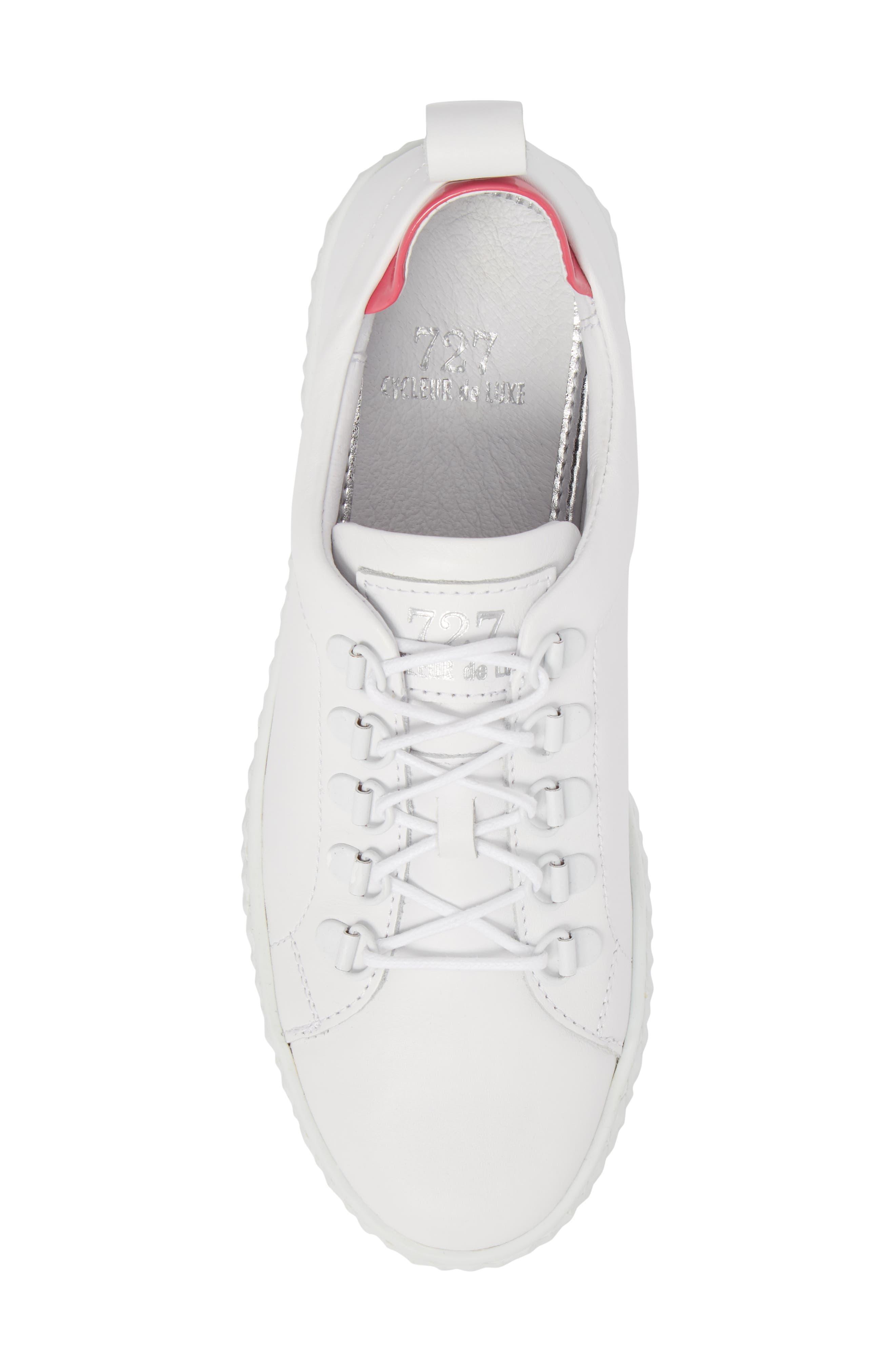 Sol Sneaker,                             Alternate thumbnail 5, color,                             Optic White/ Fuchsia Leather