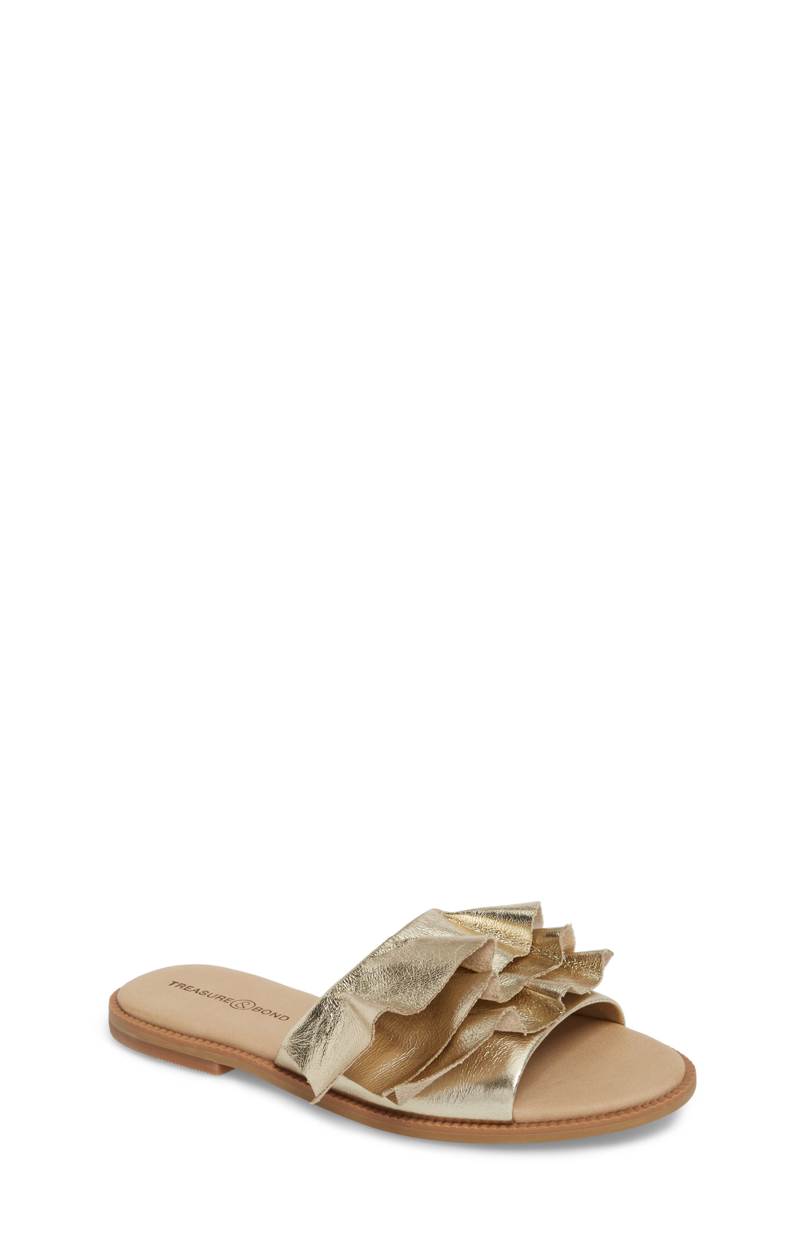 Ruby Ruffled Slide Sandal,                             Main thumbnail 1, color,                             Gold Crackle Faux Leather