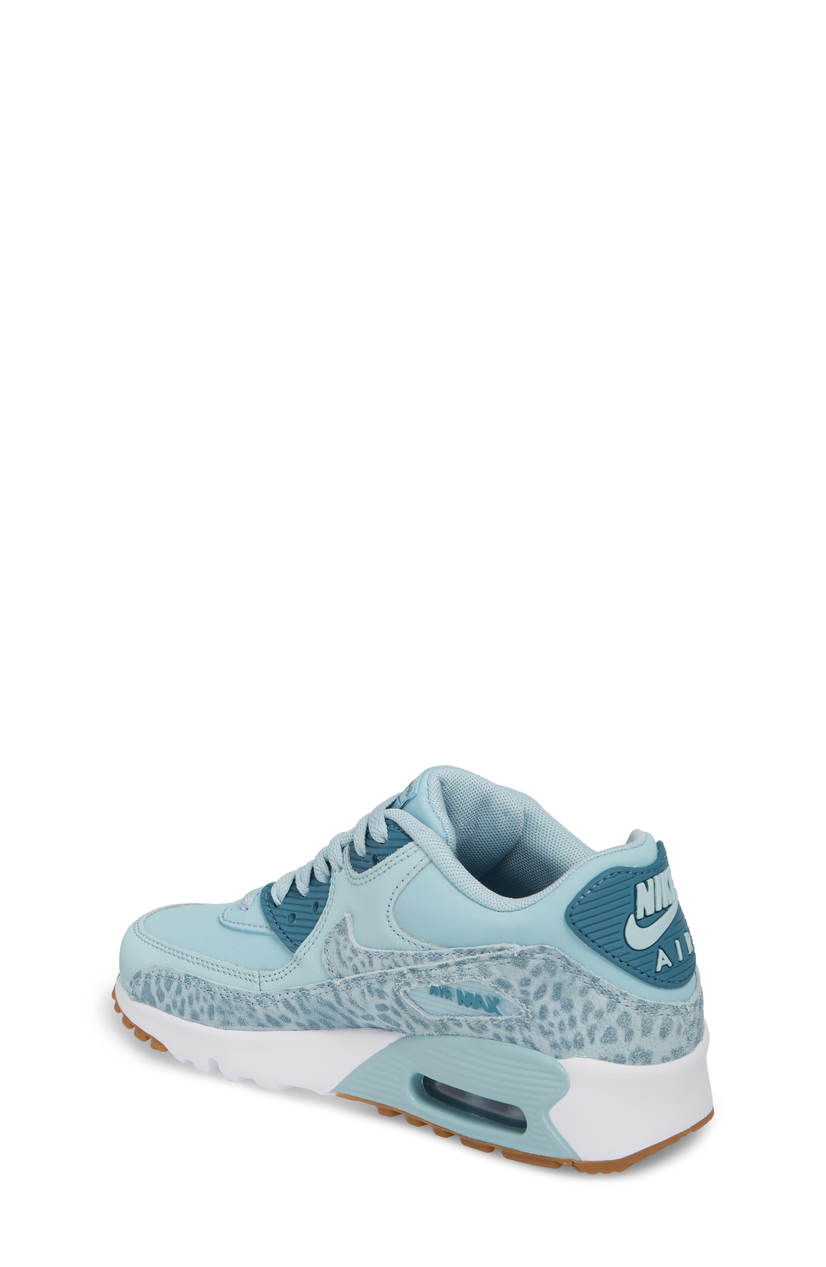 Air Max 90 Leather Sneaker,                             Alternate thumbnail 2, color,                             Ocean Bliss/ Noise Aqua/ White