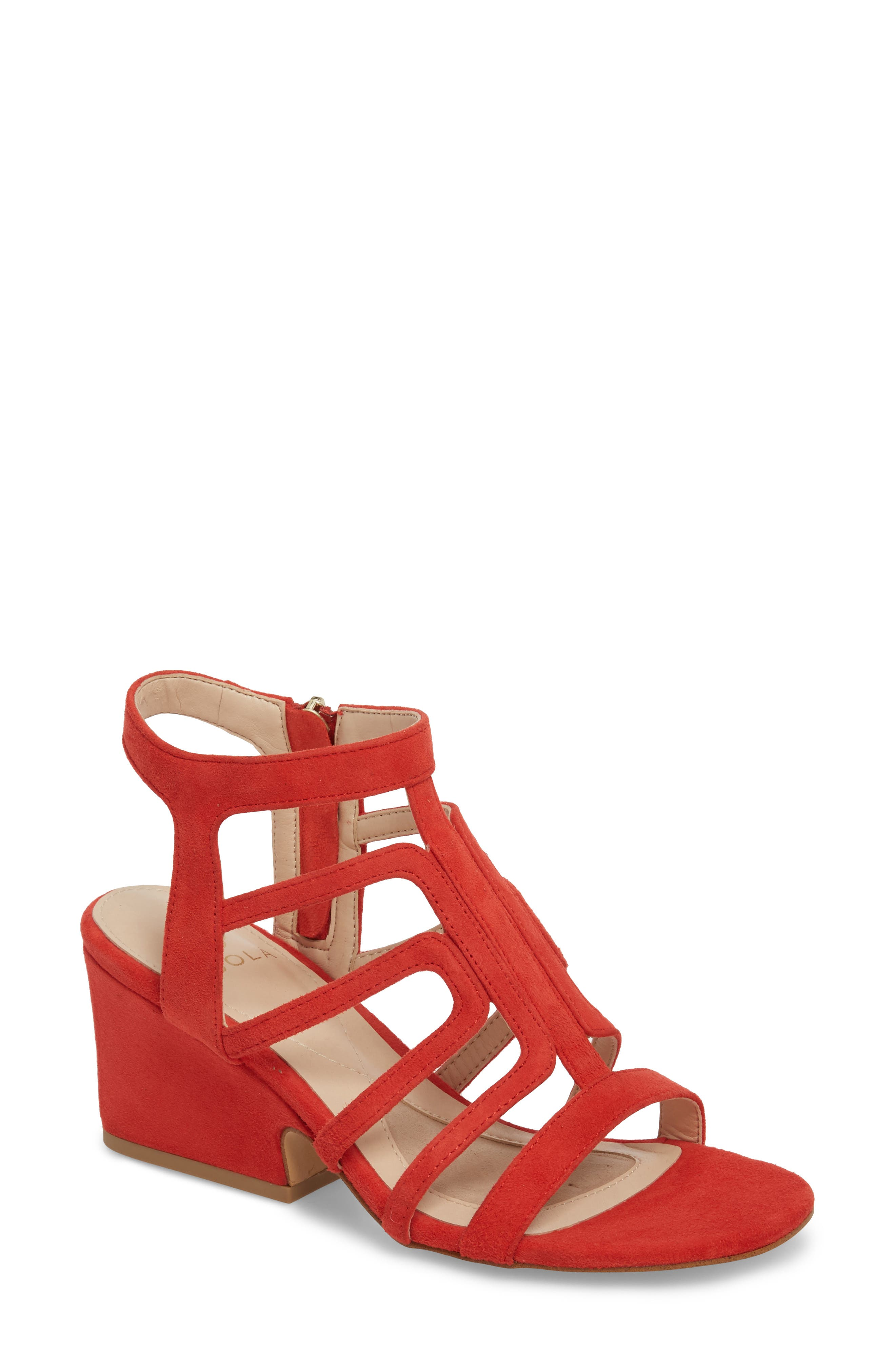Lina Sandal,                             Main thumbnail 1, color,                             Lipstick Red Suede