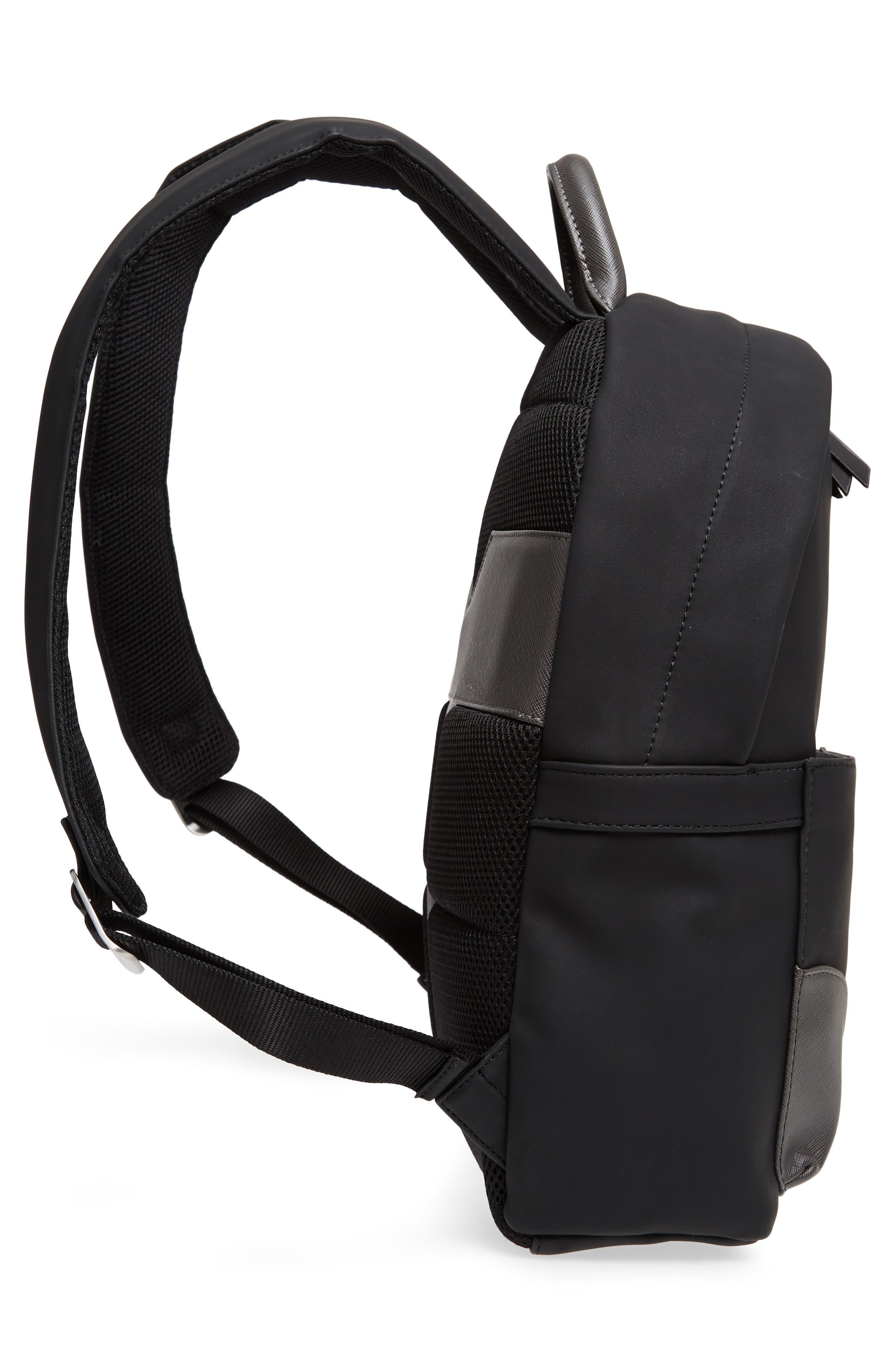 Passed Faux Leather Backpack,                             Alternate thumbnail 5, color,                             Black