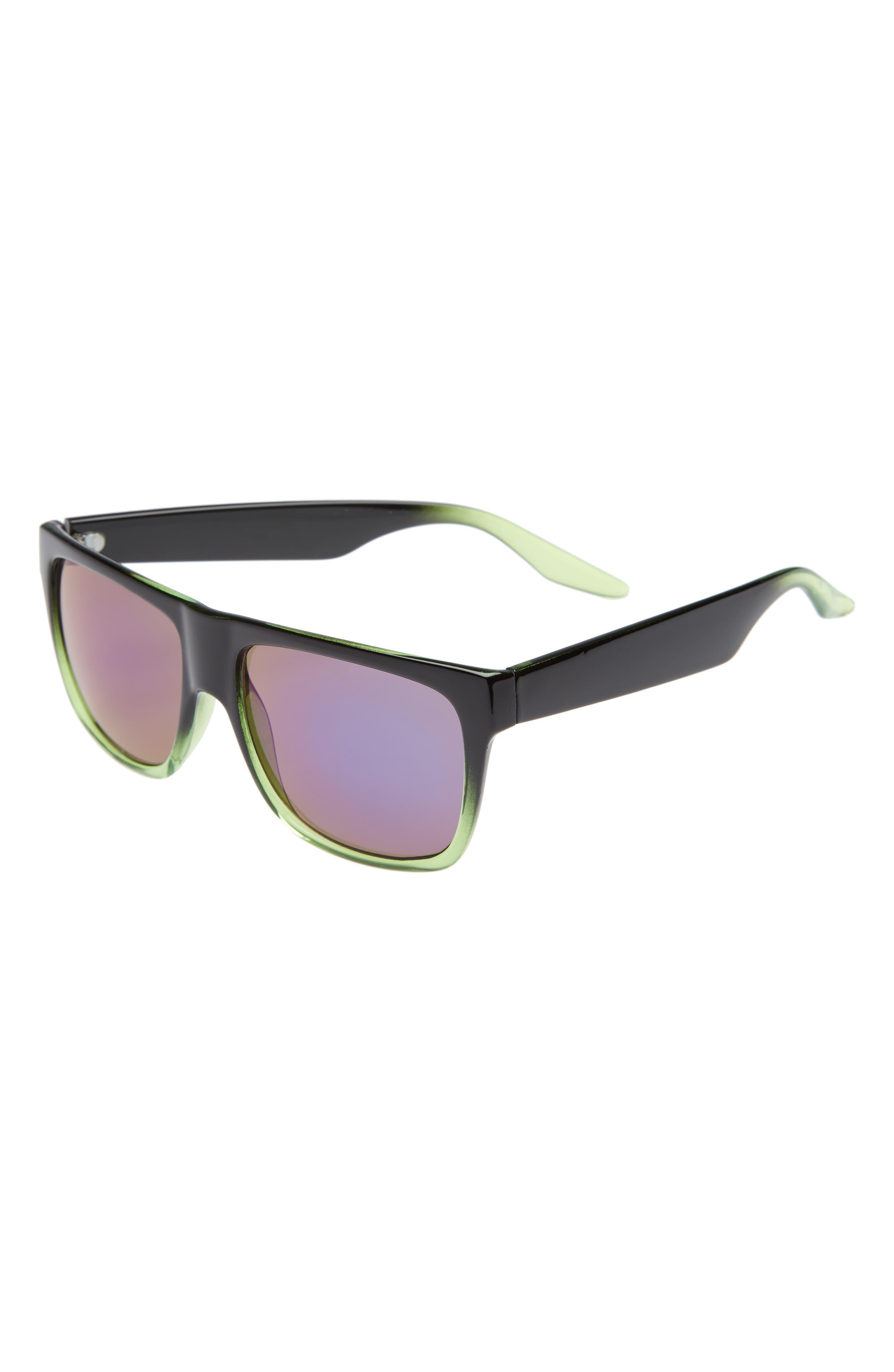 Ombré Frame Sunglasses,                             Main thumbnail 1, color,                             Black/ Green Mirror