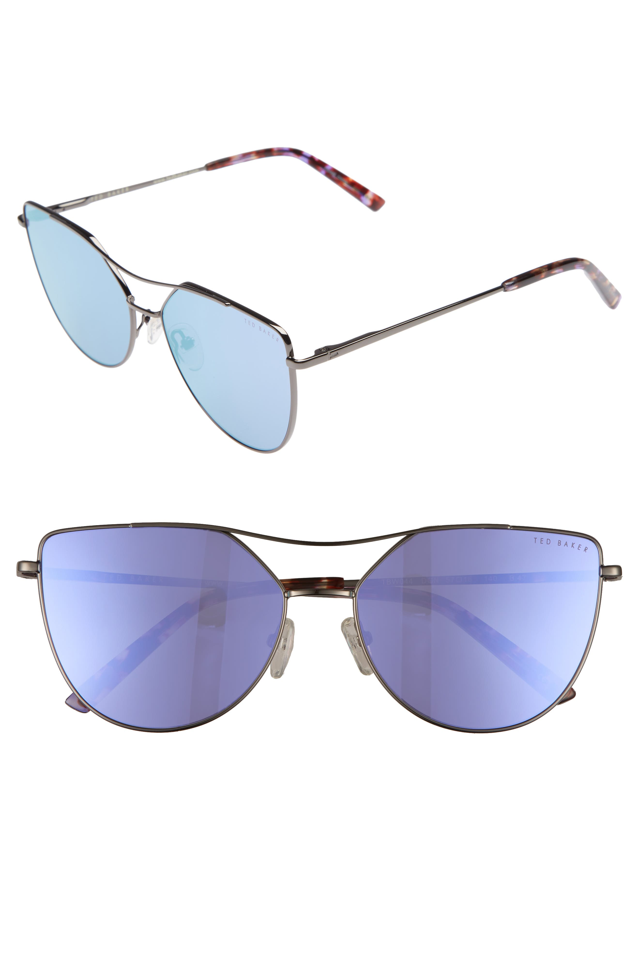 57mm Geometric Aviator Sunglasses,                             Main thumbnail 1, color,                             Dark Gunmetal