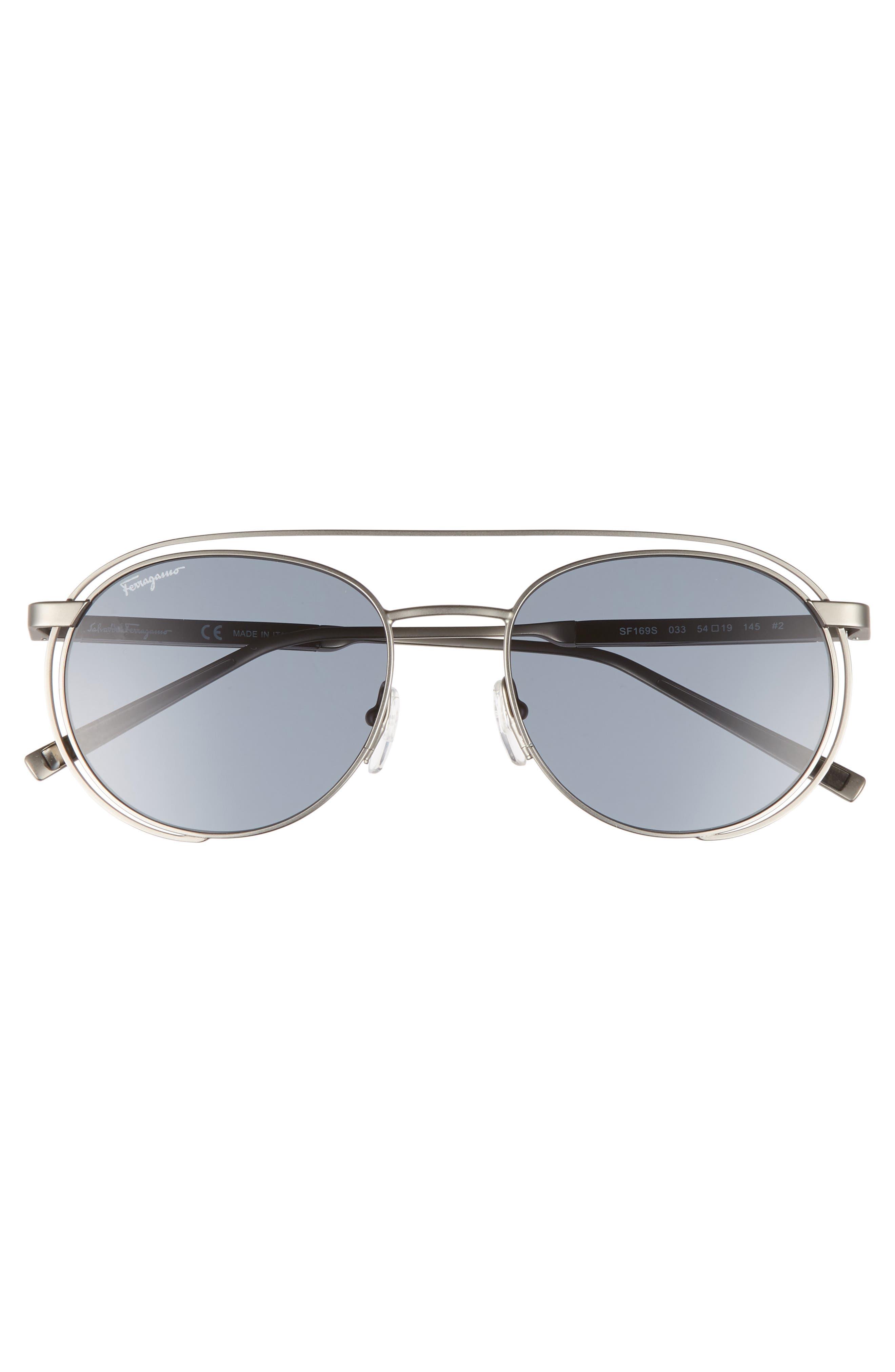 54mm Round Sunglasses,                             Alternate thumbnail 2, color,                             Matte Gunmetal