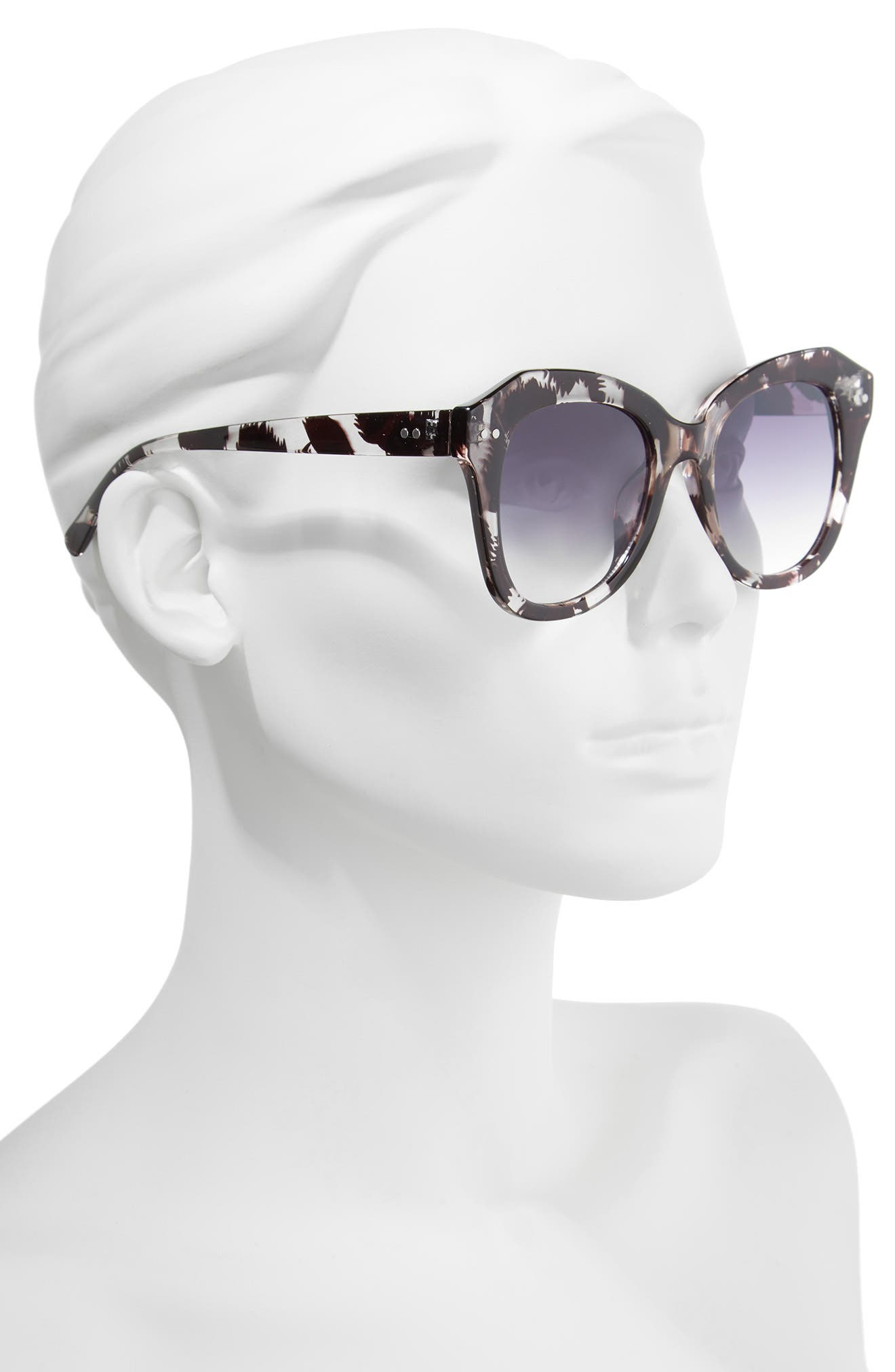 Marbled Square Sunglasses,                             Alternate thumbnail 2, color,                             Black/ Clear
