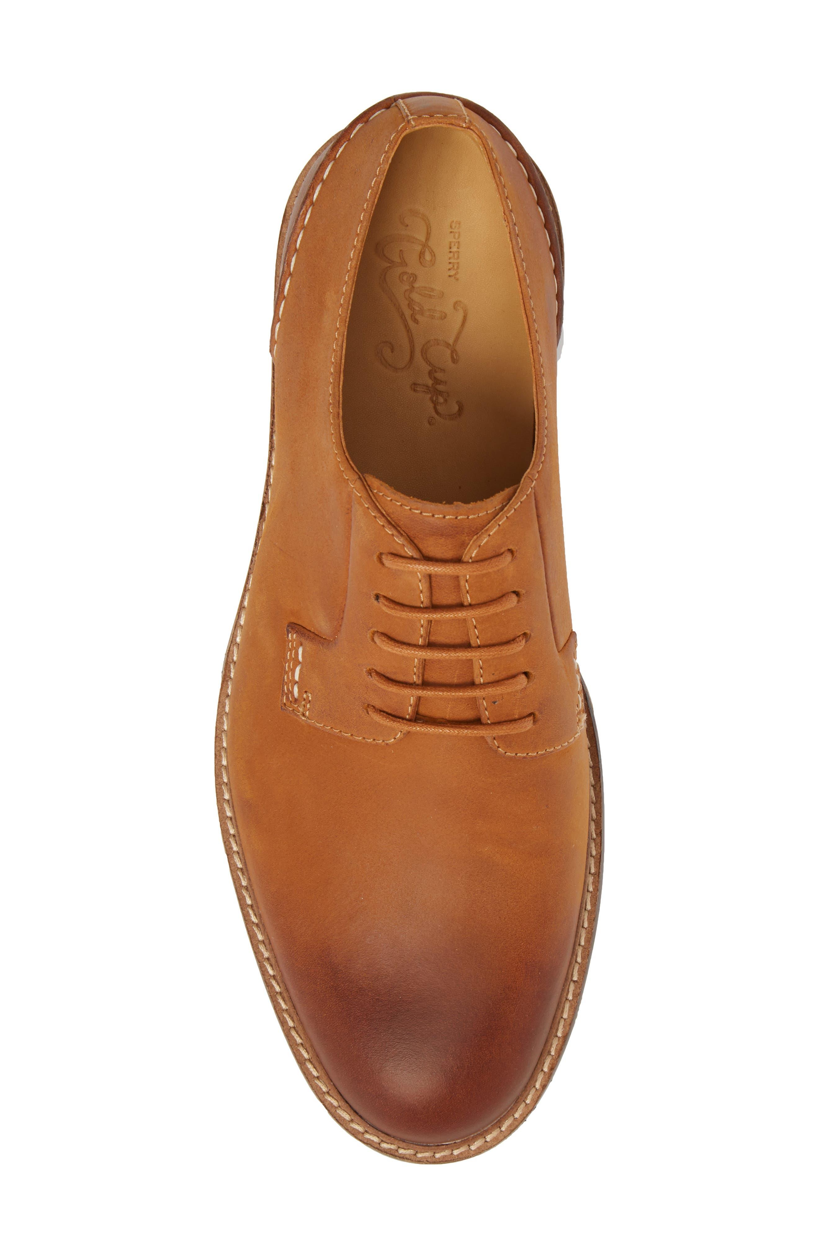 Gold Cup Plain Toe Derby,                             Alternate thumbnail 5, color,                             Tan Leather