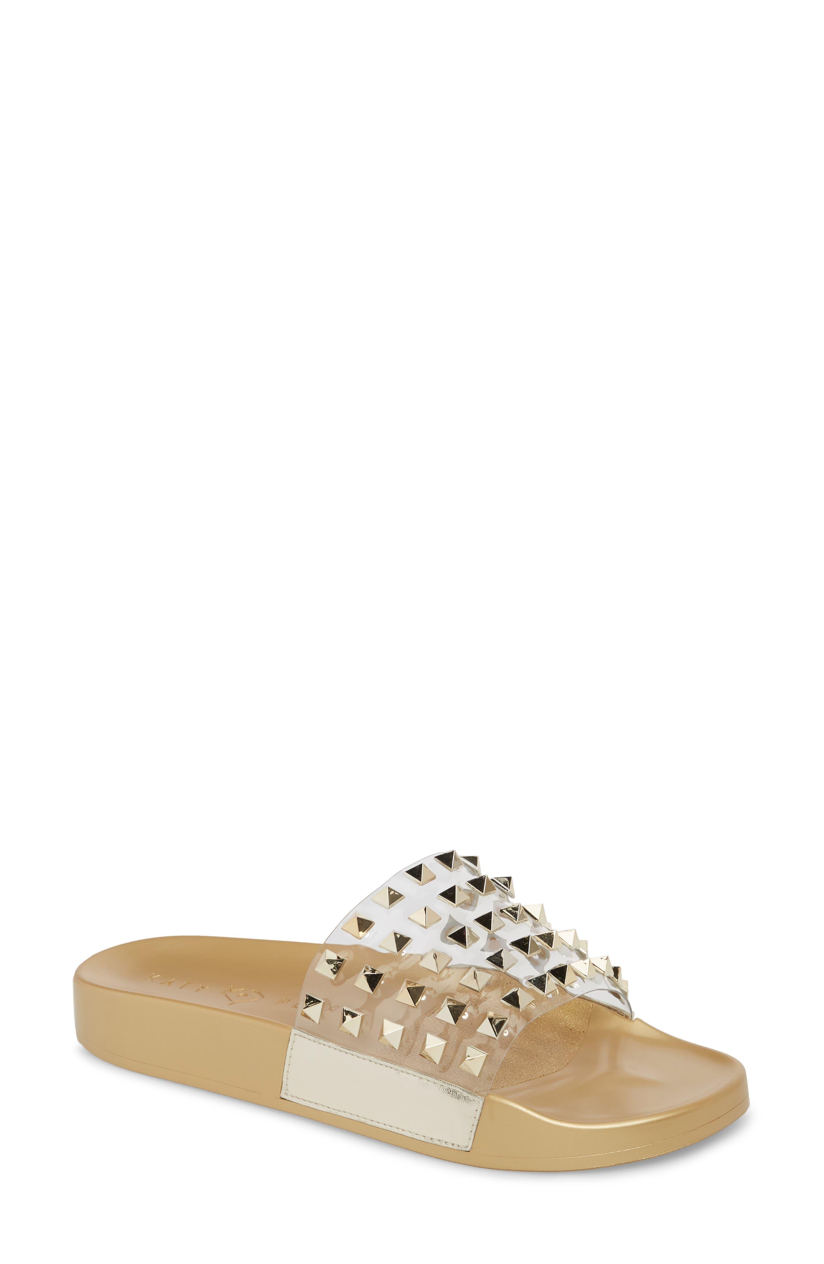 Studded Slide Sandal,                         Main,                         color, Gold