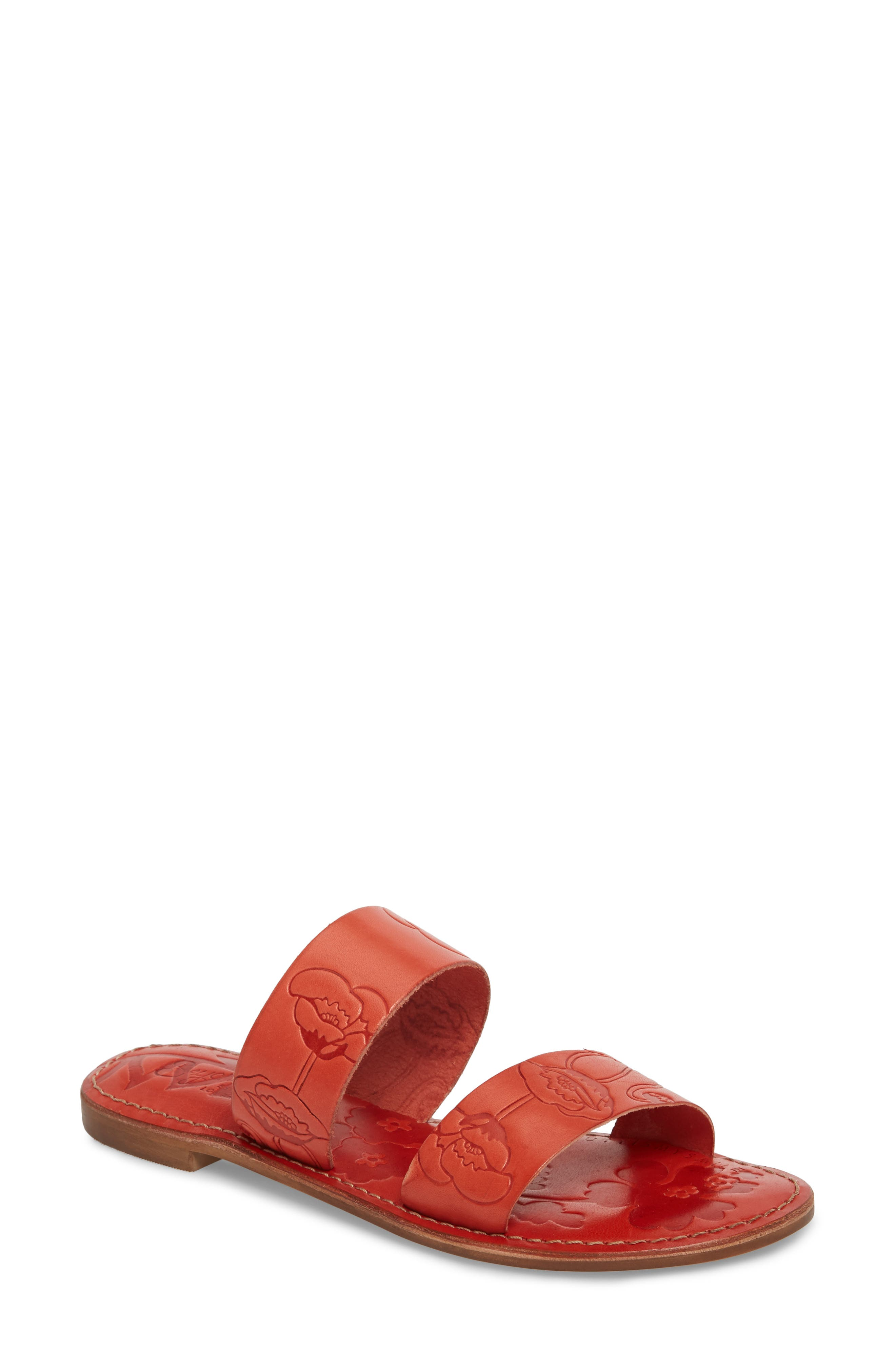 Sheroes Slide Sandal,                             Main thumbnail 1, color,                             Red Leather