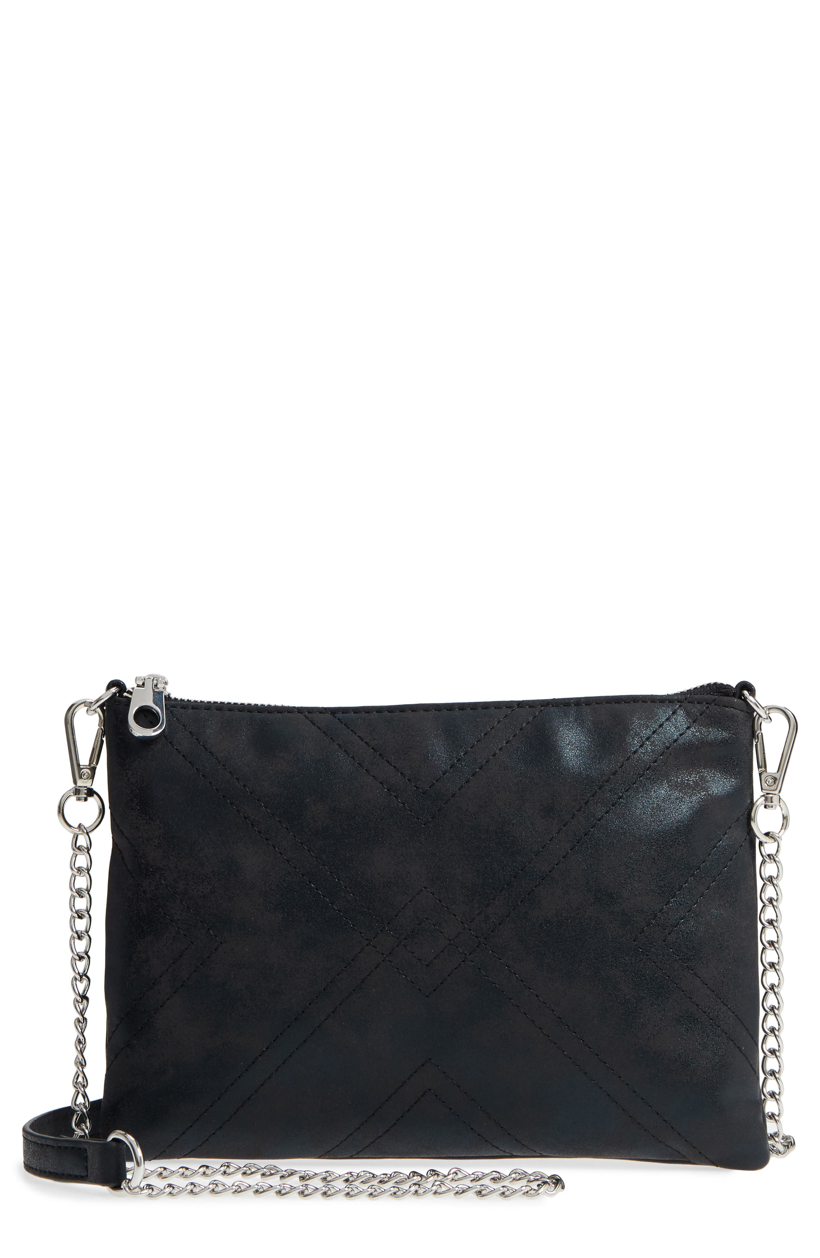 Astley Faux Leather Clutch,                             Main thumbnail 1, color,                             Black