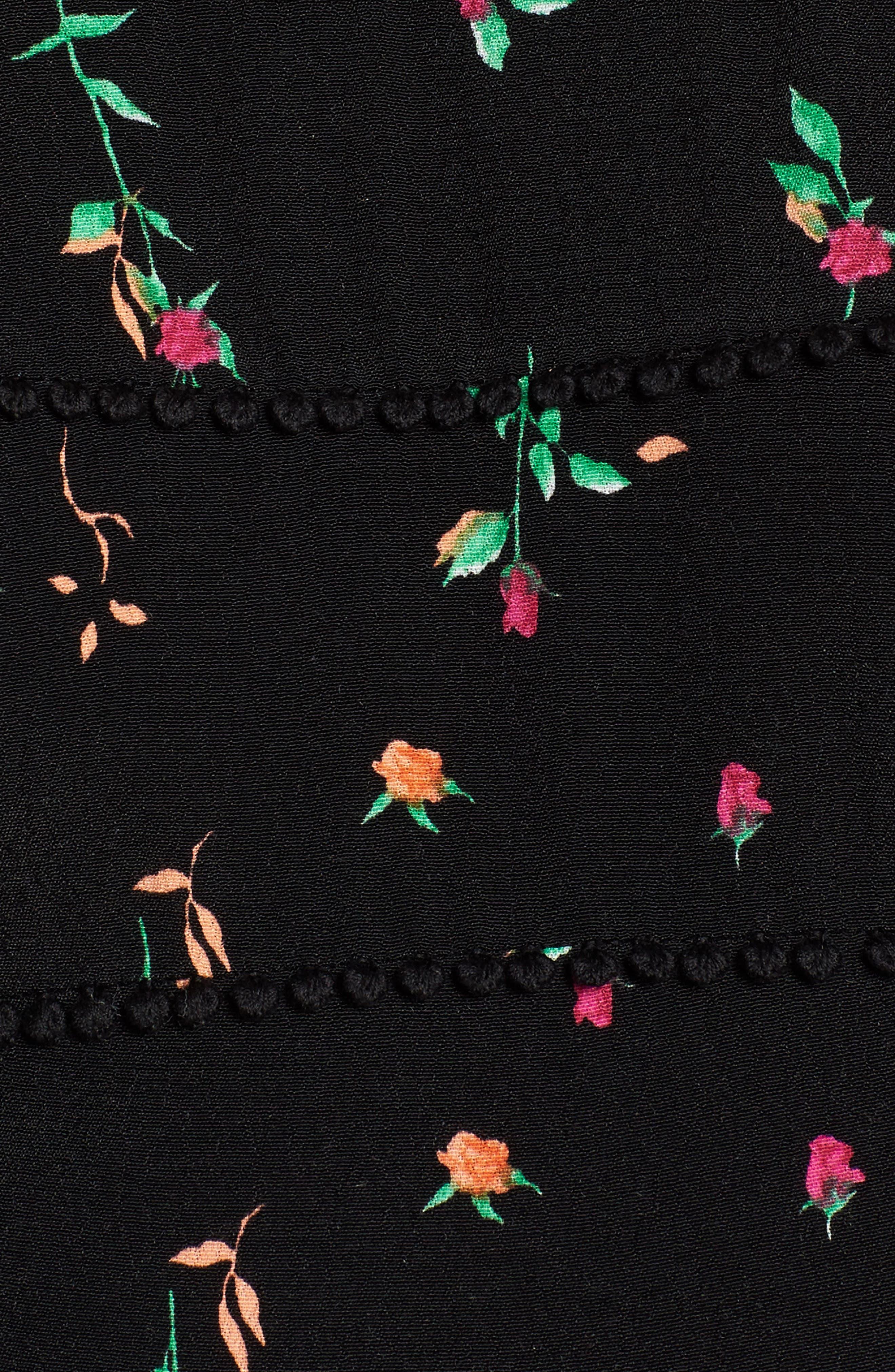Blaze Off the Shoulder Crop Top,                             Alternate thumbnail 6, color,                             Noir Rose Ditsy