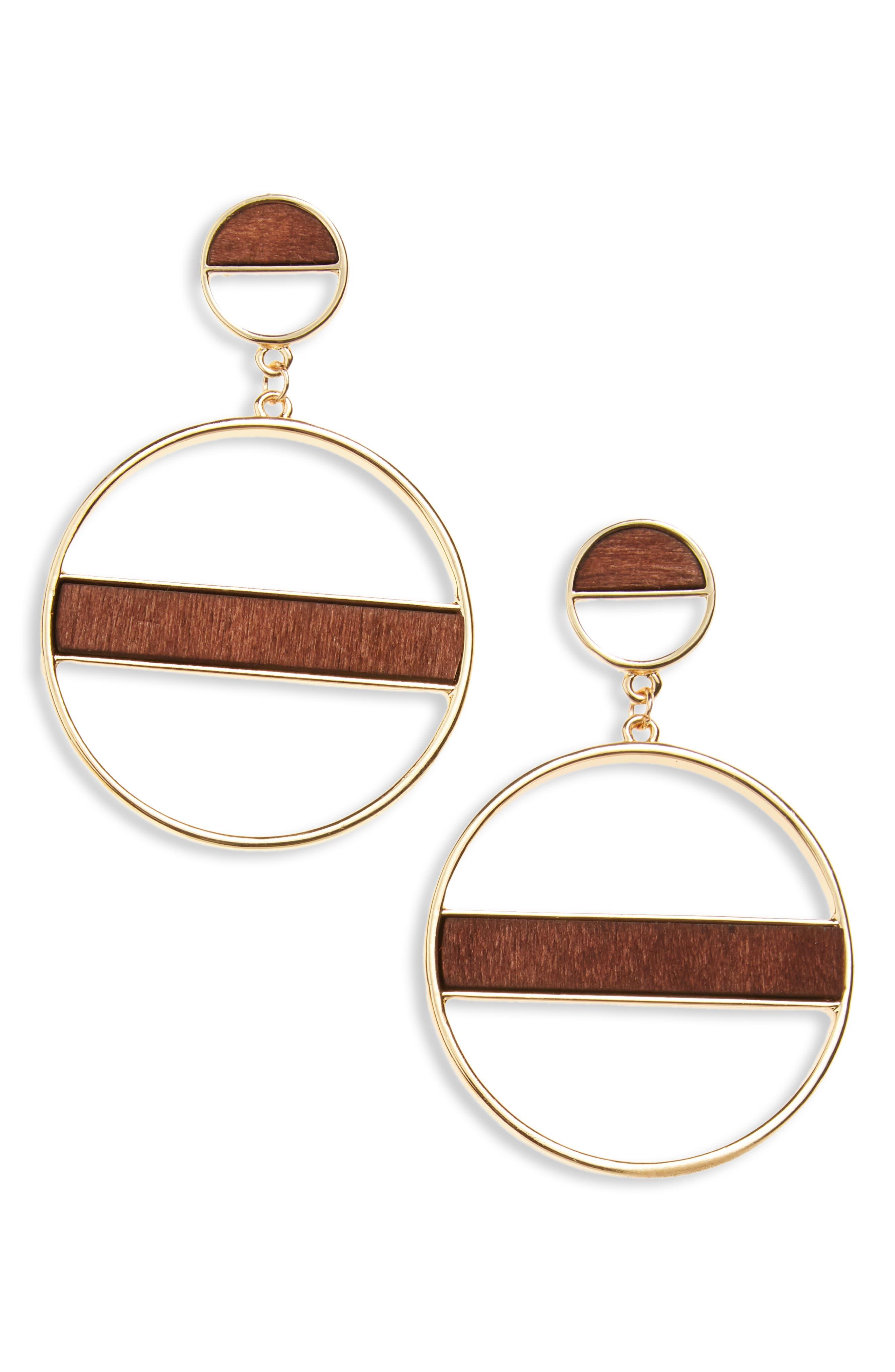 Wood Detail Hoop Earrings,                         Main,                         color, Gold/ Wood