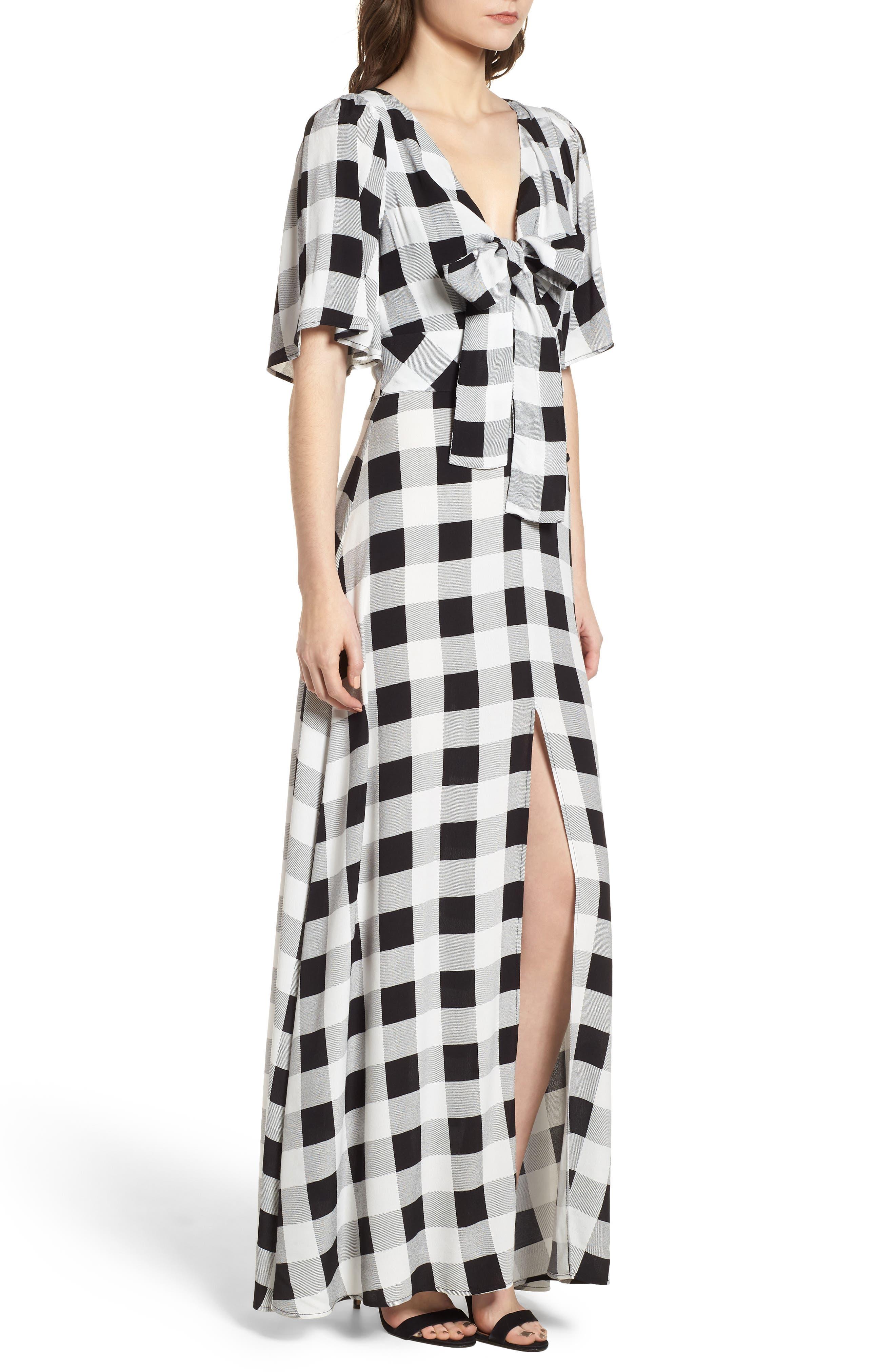 Ramon Tie Front Maxi Dress,                             Alternate thumbnail 3, color,                             Noir Blanc Gingham