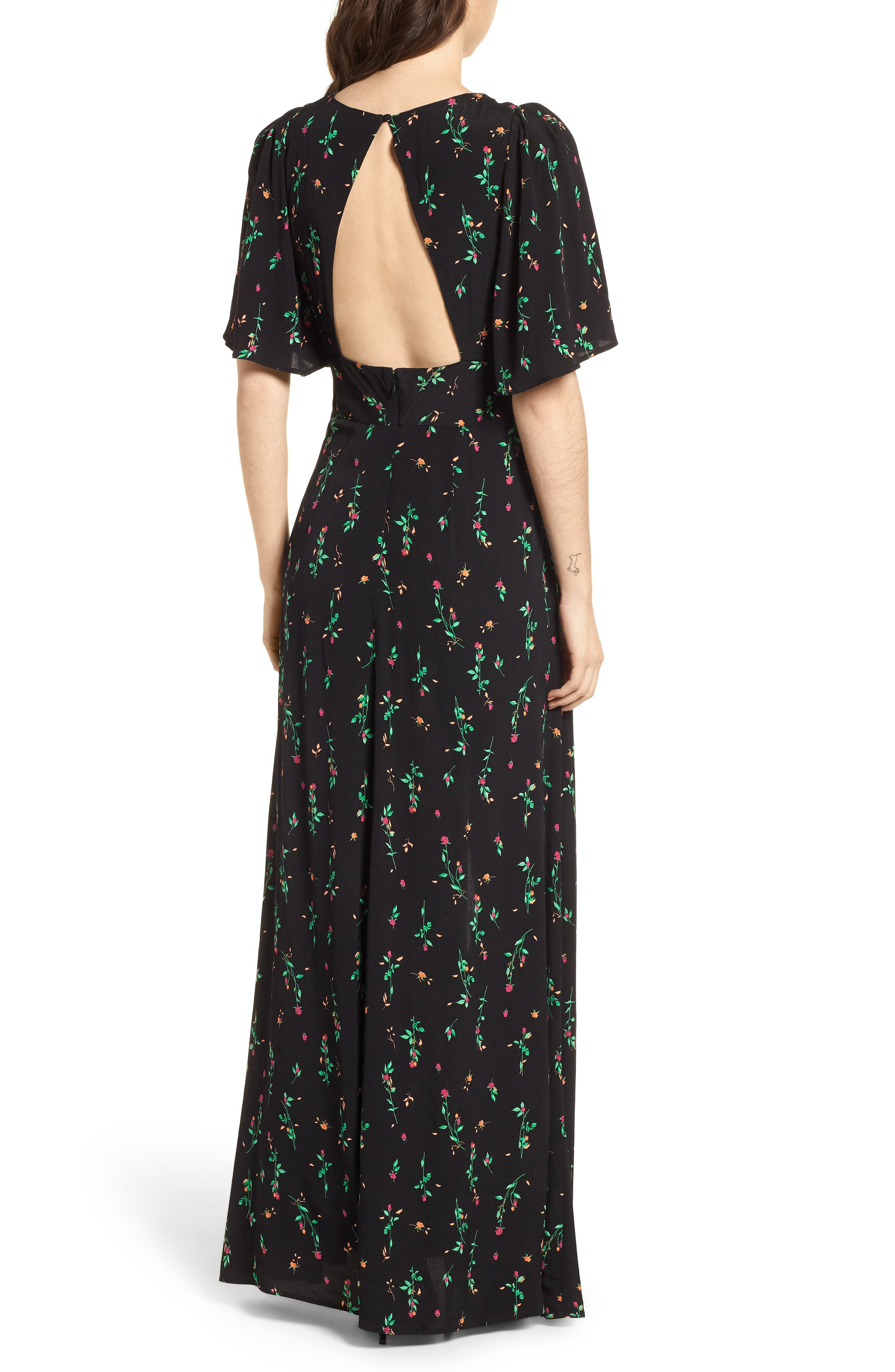 Ramon Tie Front Maxi Dress,                             Alternate thumbnail 2, color,                             Noir Rose Ditsy