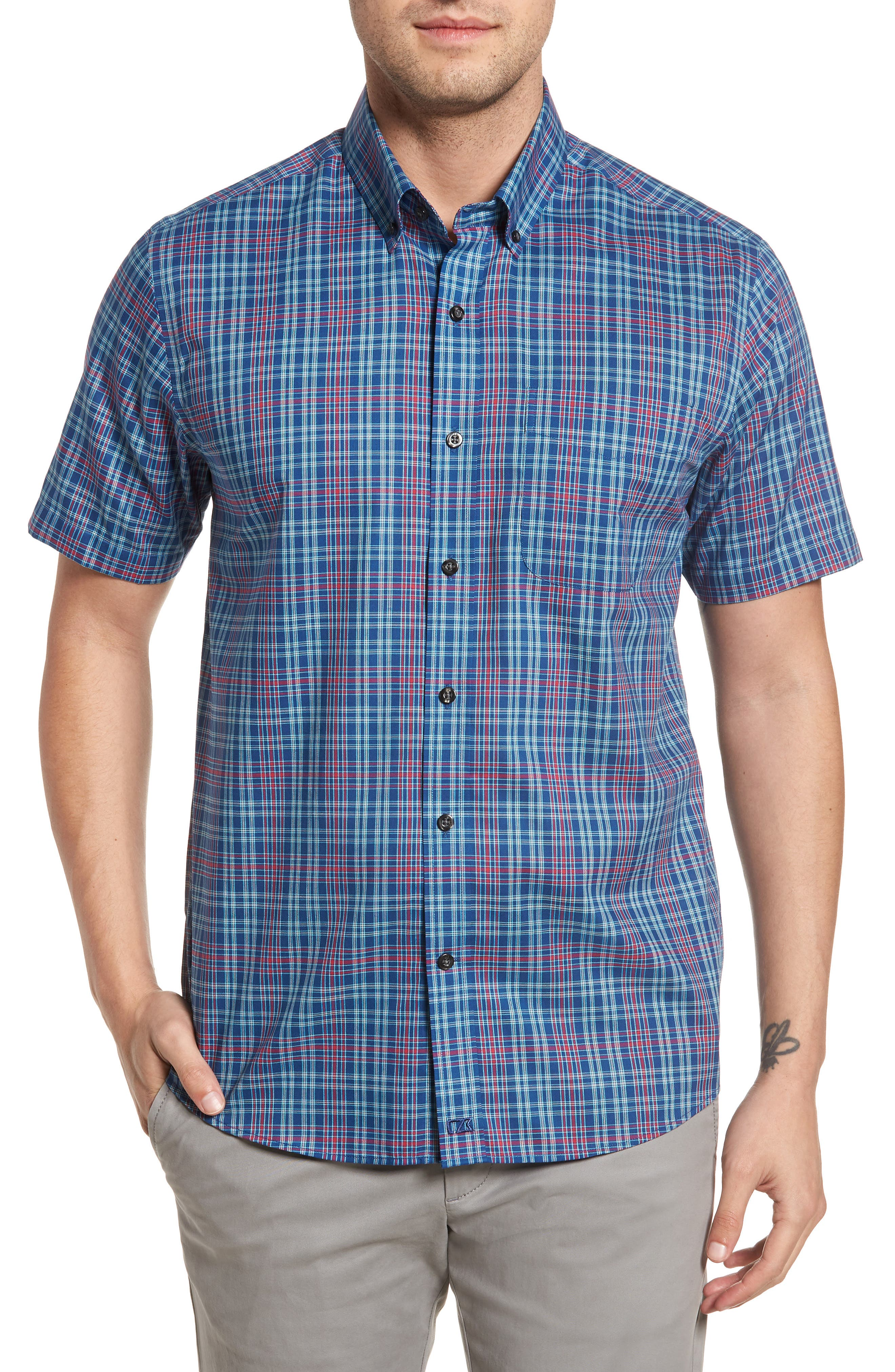 Isaac Classic Fit Easy Care Check Sport Shirt,                         Main,                         color, Nautical