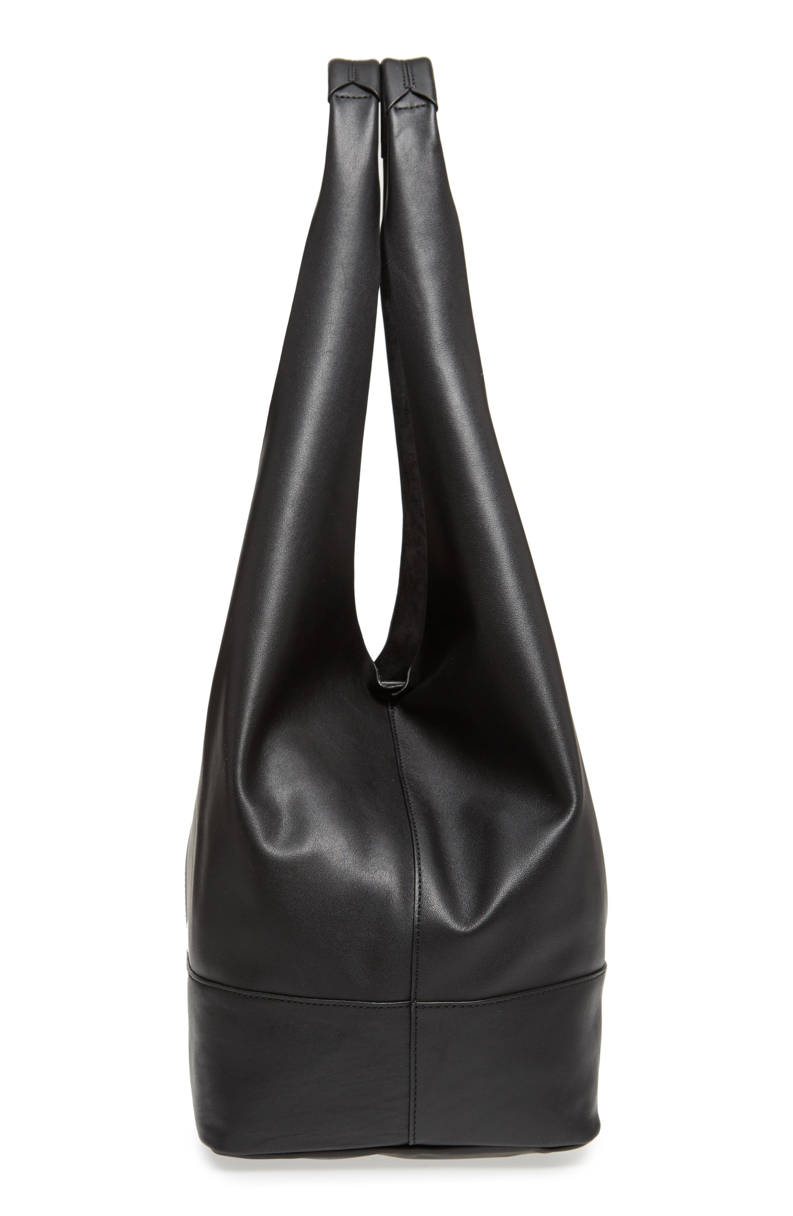 Camden Leather Tote,                             Alternate thumbnail 5, color,                             Black