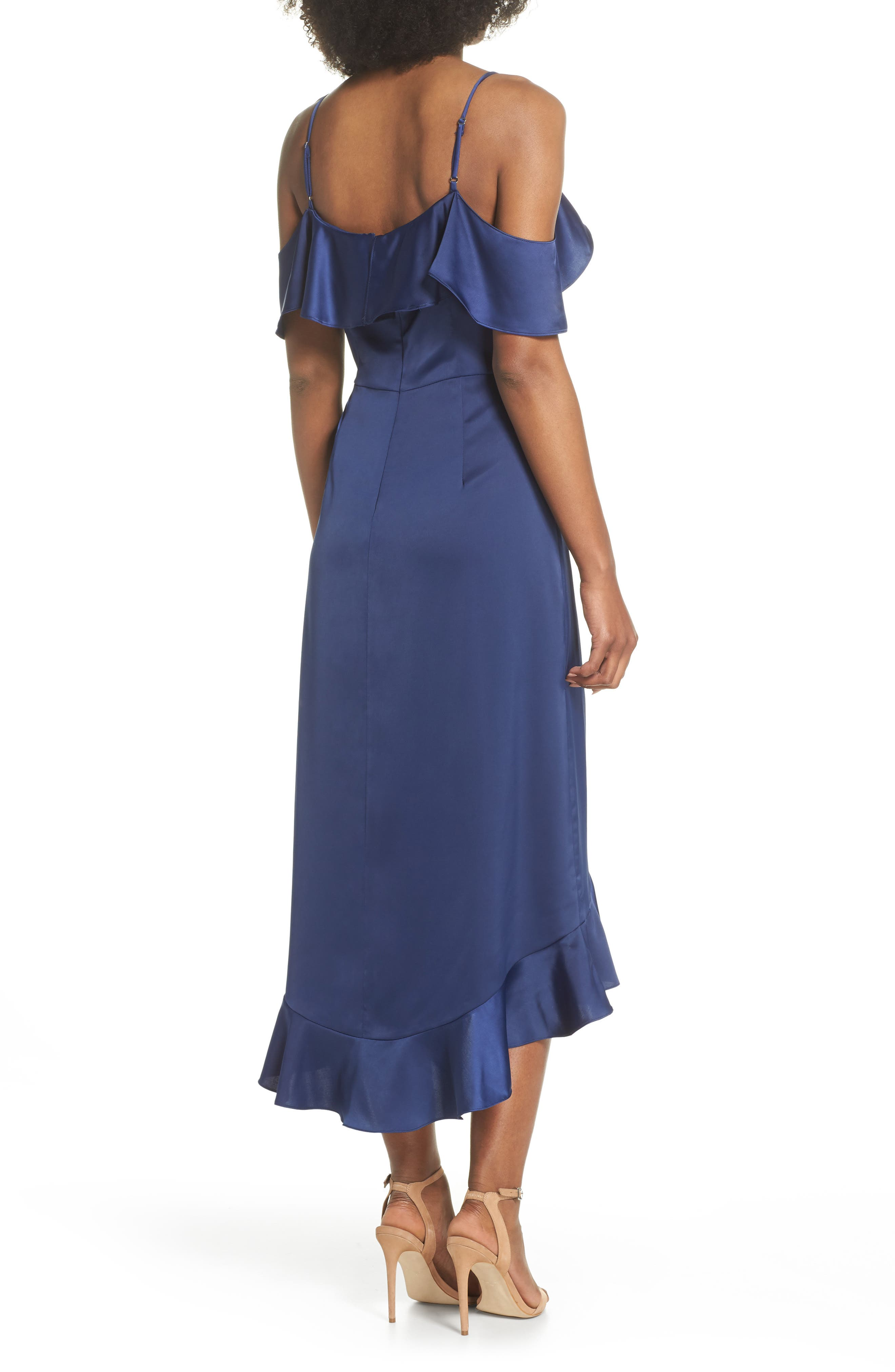 Faux Wrap Satin Ruffle Dress,                             Alternate thumbnail 2, color,                             Navy