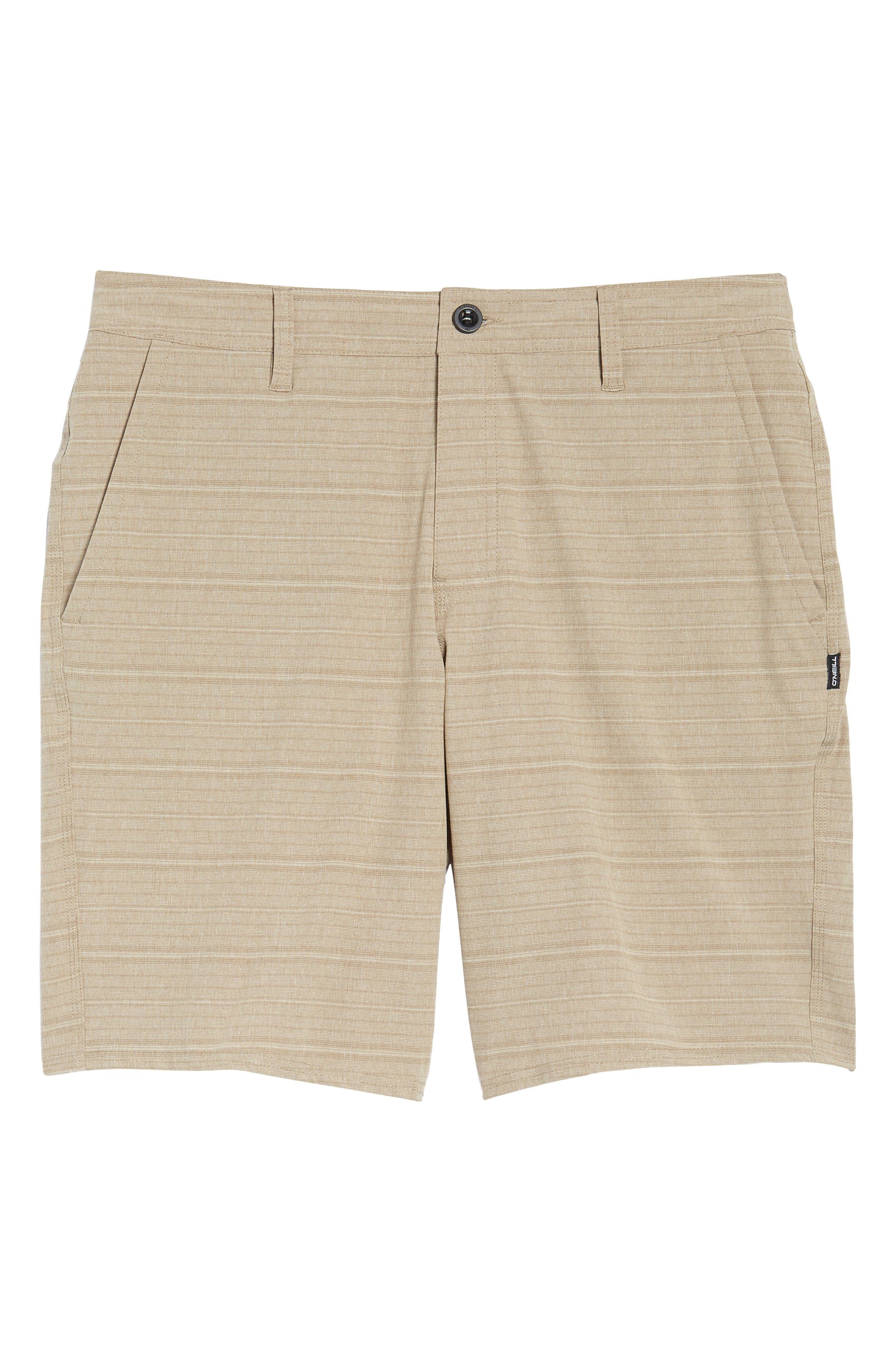 Locked Stripe Hybrid Shorts,                             Alternate thumbnail 6, color,                             Khaki
