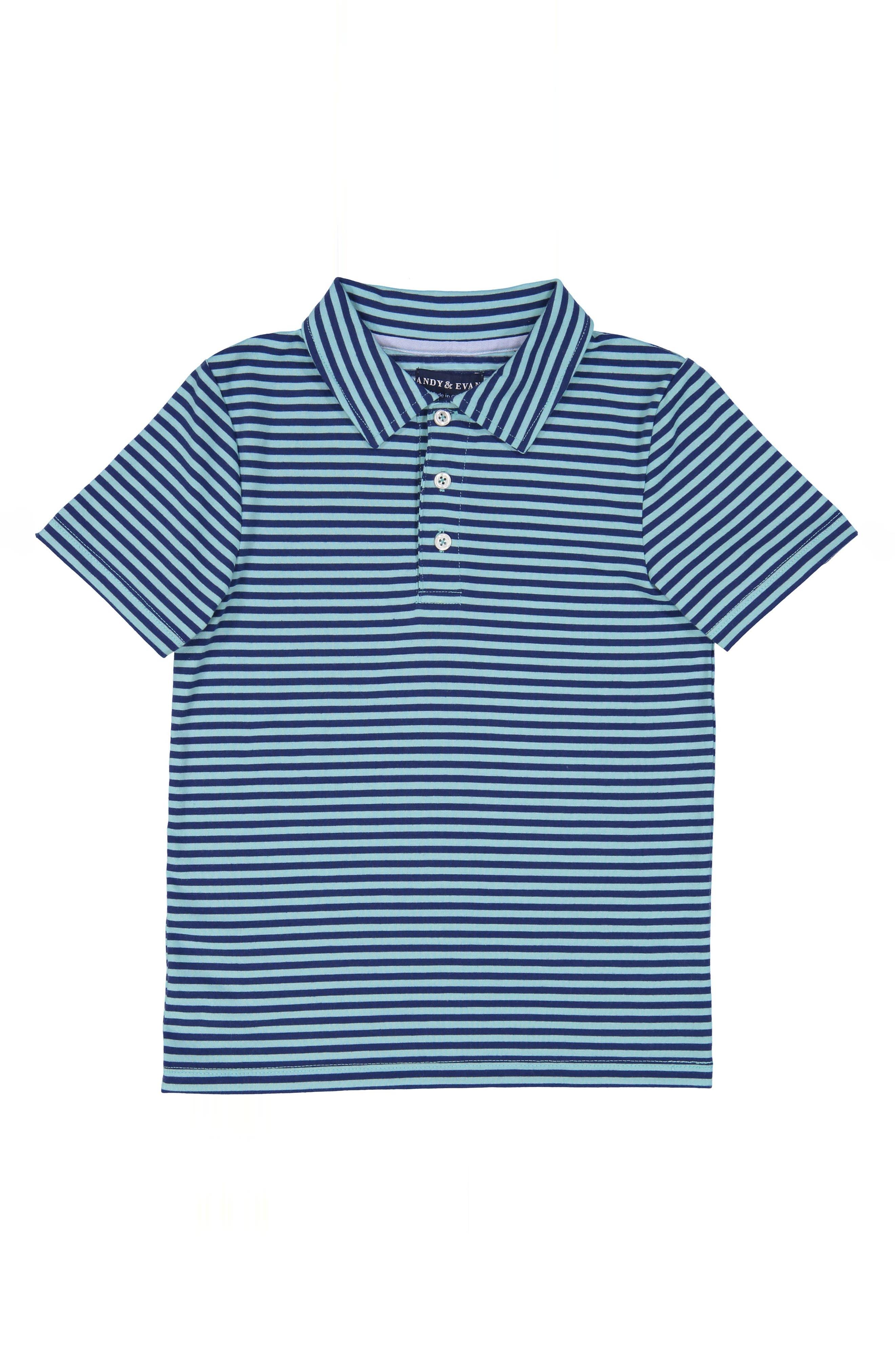 Stripe Polo,                         Main,                         color, Aqua