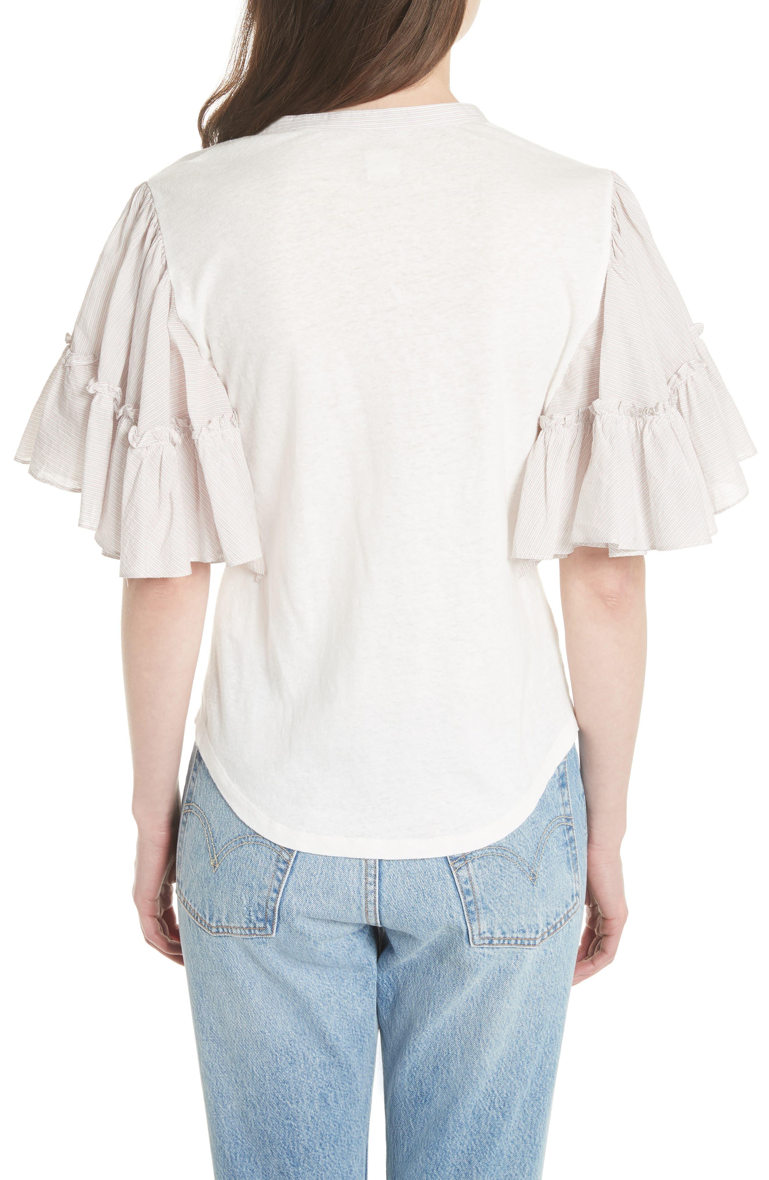 Textured Stripe Linen & Cotton Top,                             Alternate thumbnail 2, color,                             Milk