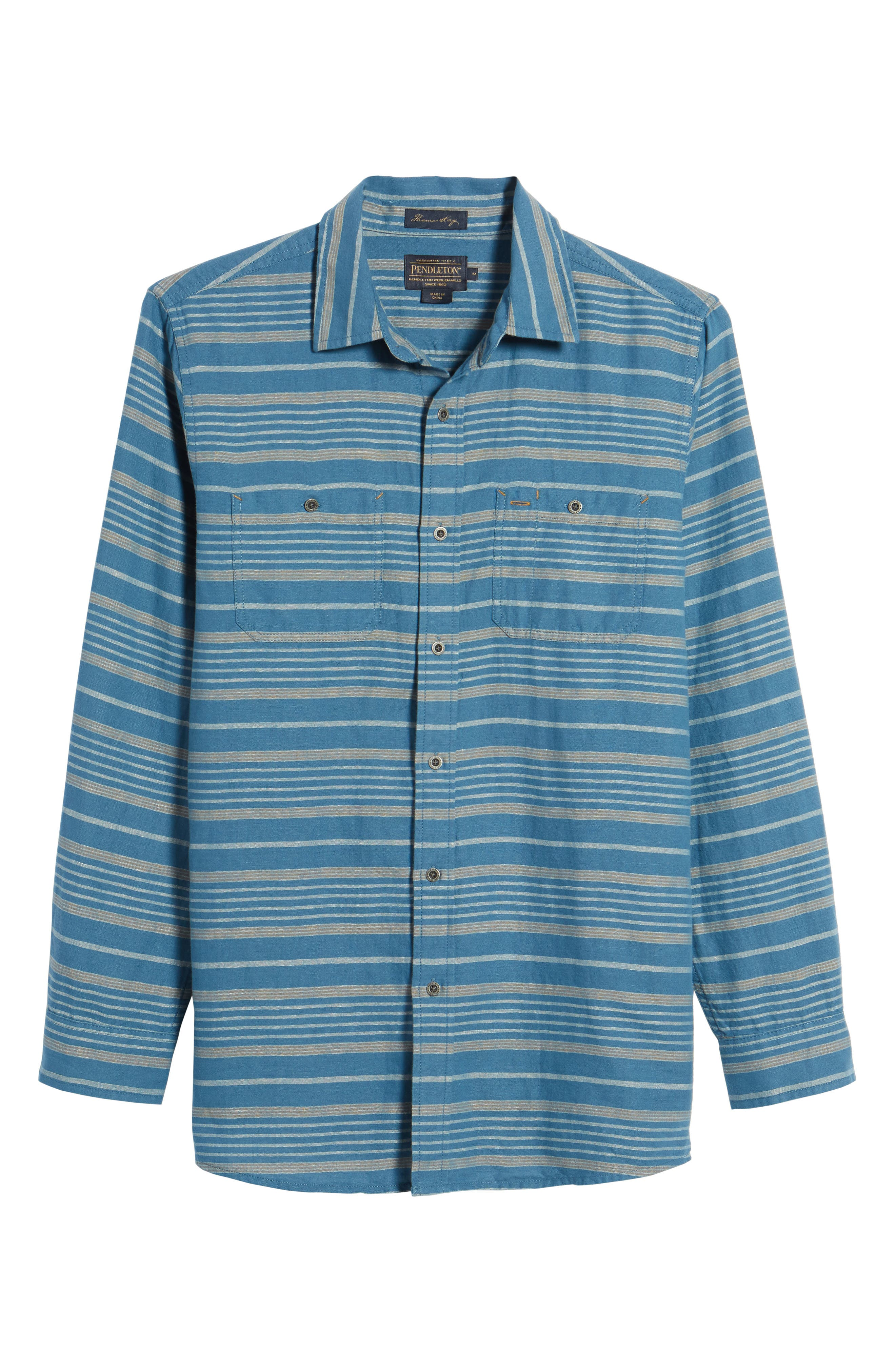 Kay Street Fitted Shirt,                             Alternate thumbnail 6, color,                             Navy/ Cream Stripe