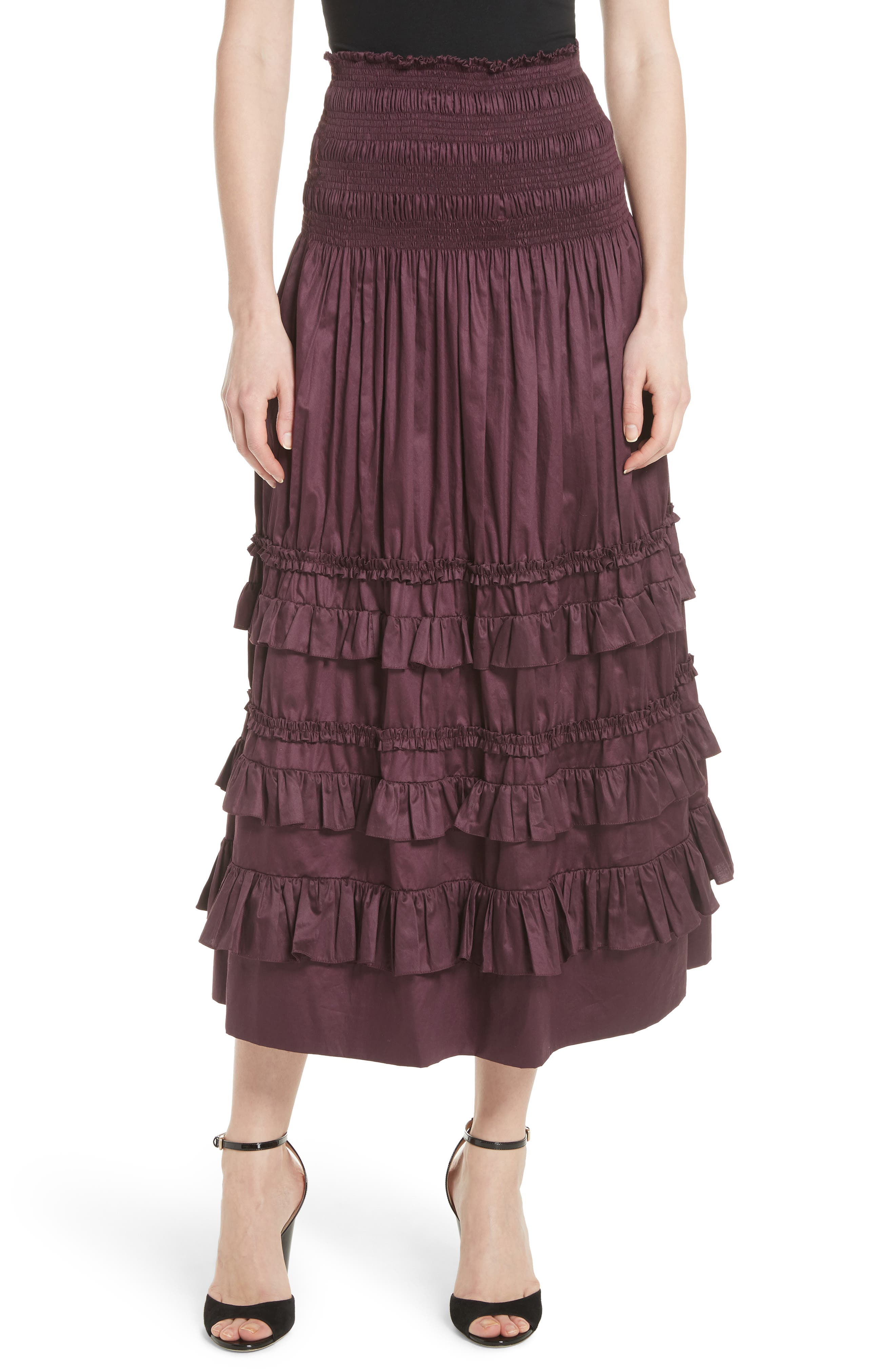 Rebecca Taylor Ruffle Trim Midi Skirt